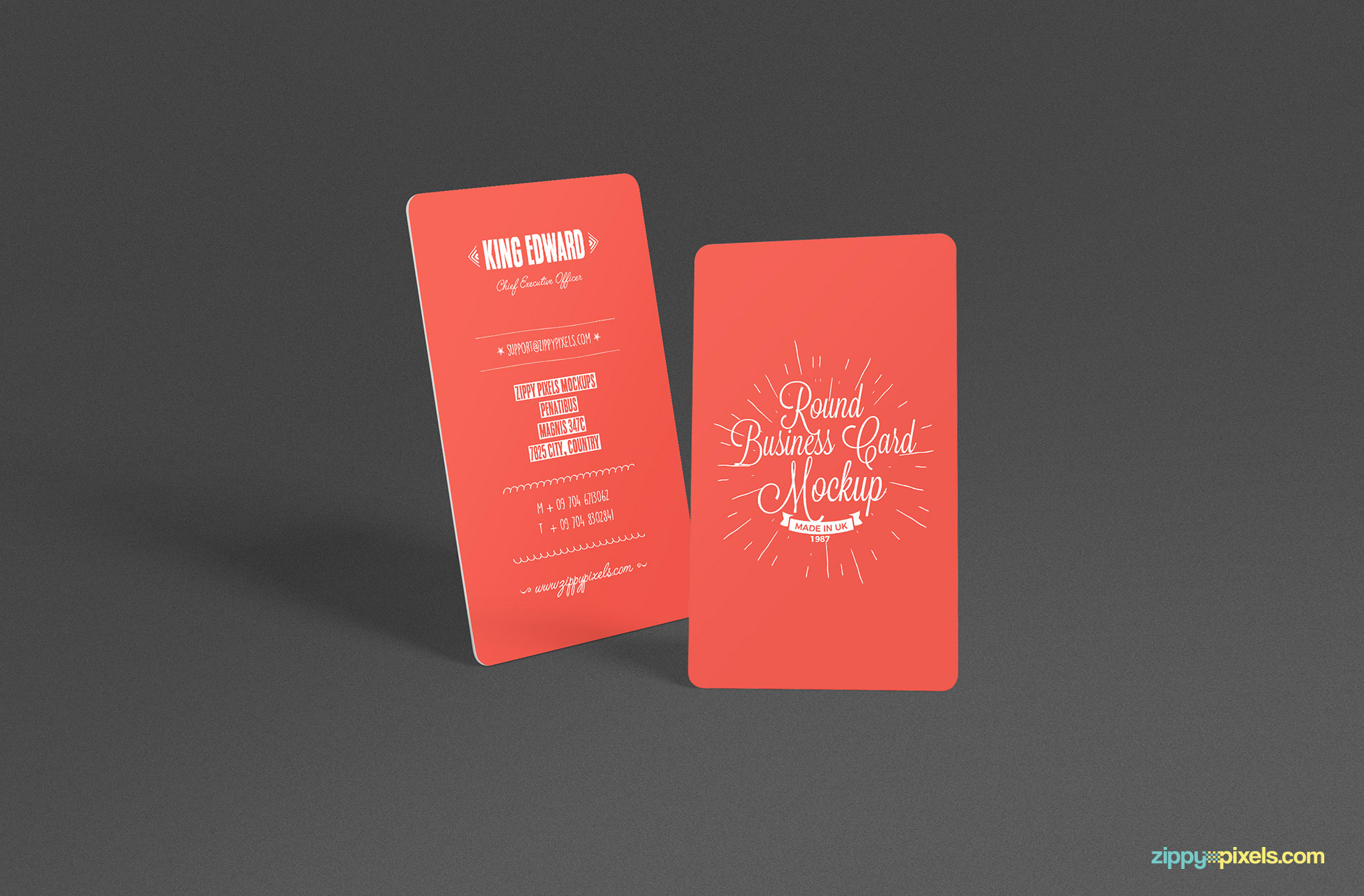 Free round business card mockup with changeable background