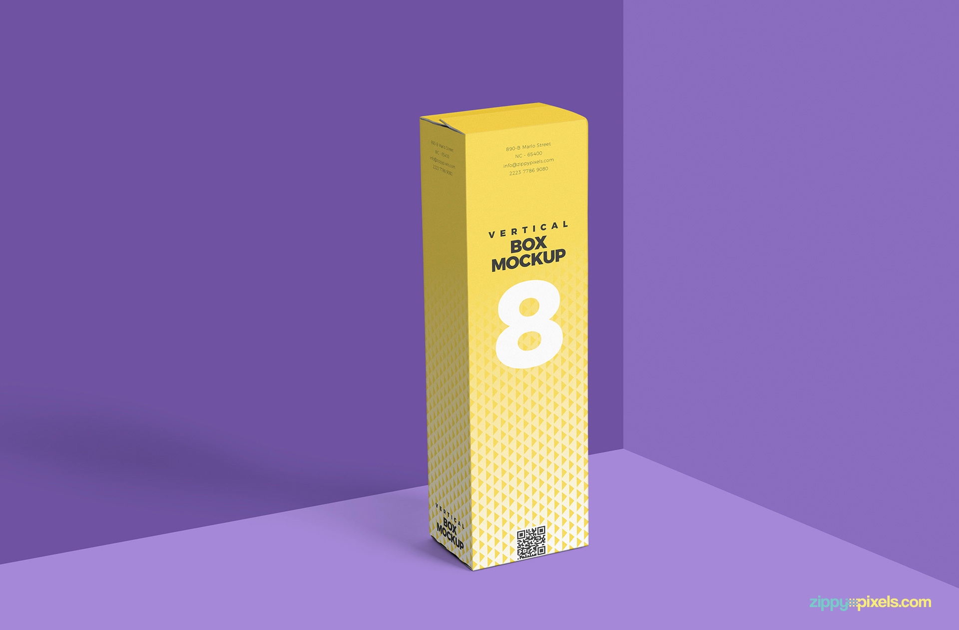 free vertical packaging box mockup psd against purple background