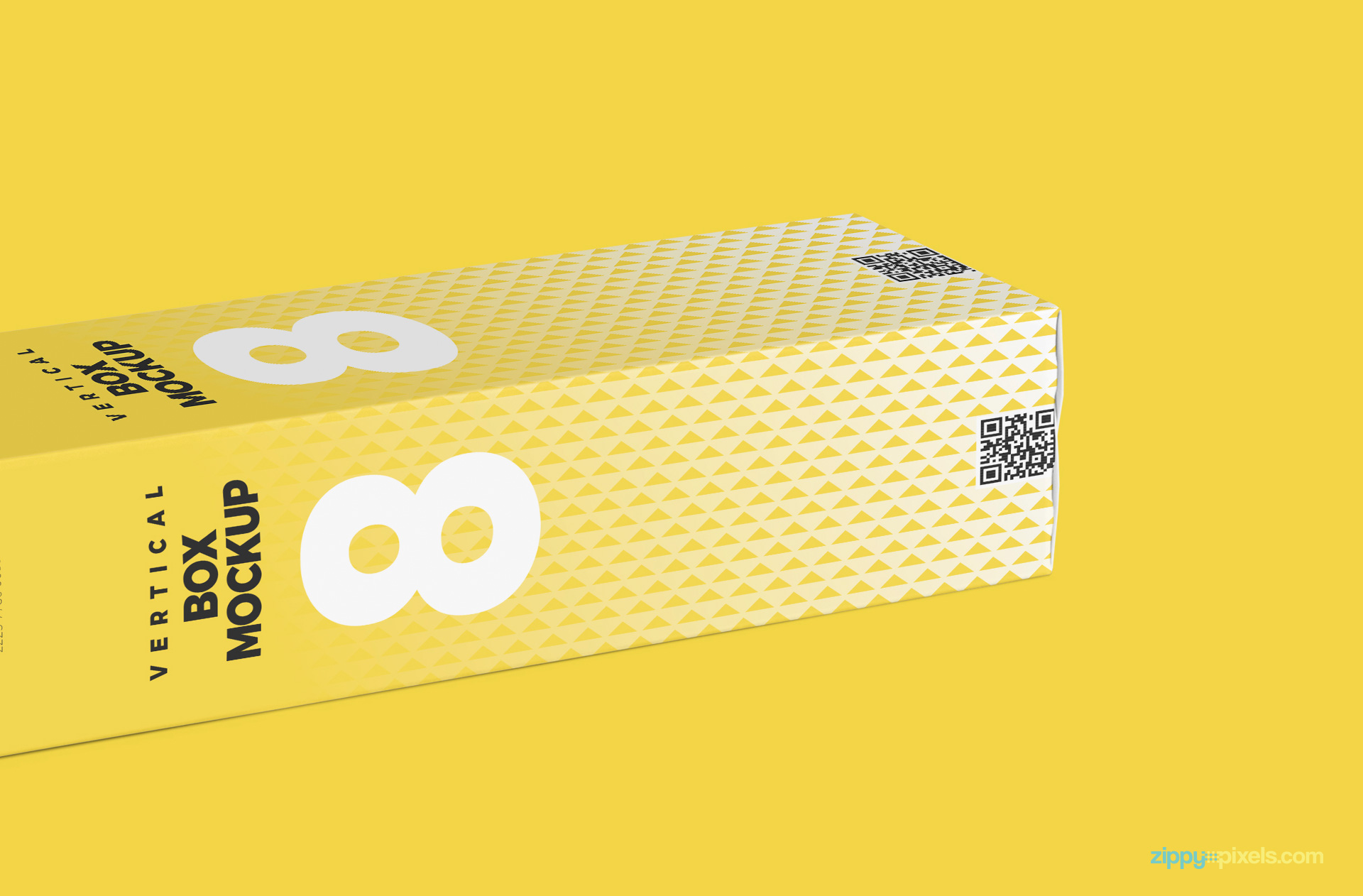 horizontal view of corrugated box mockup psd on yellow surface