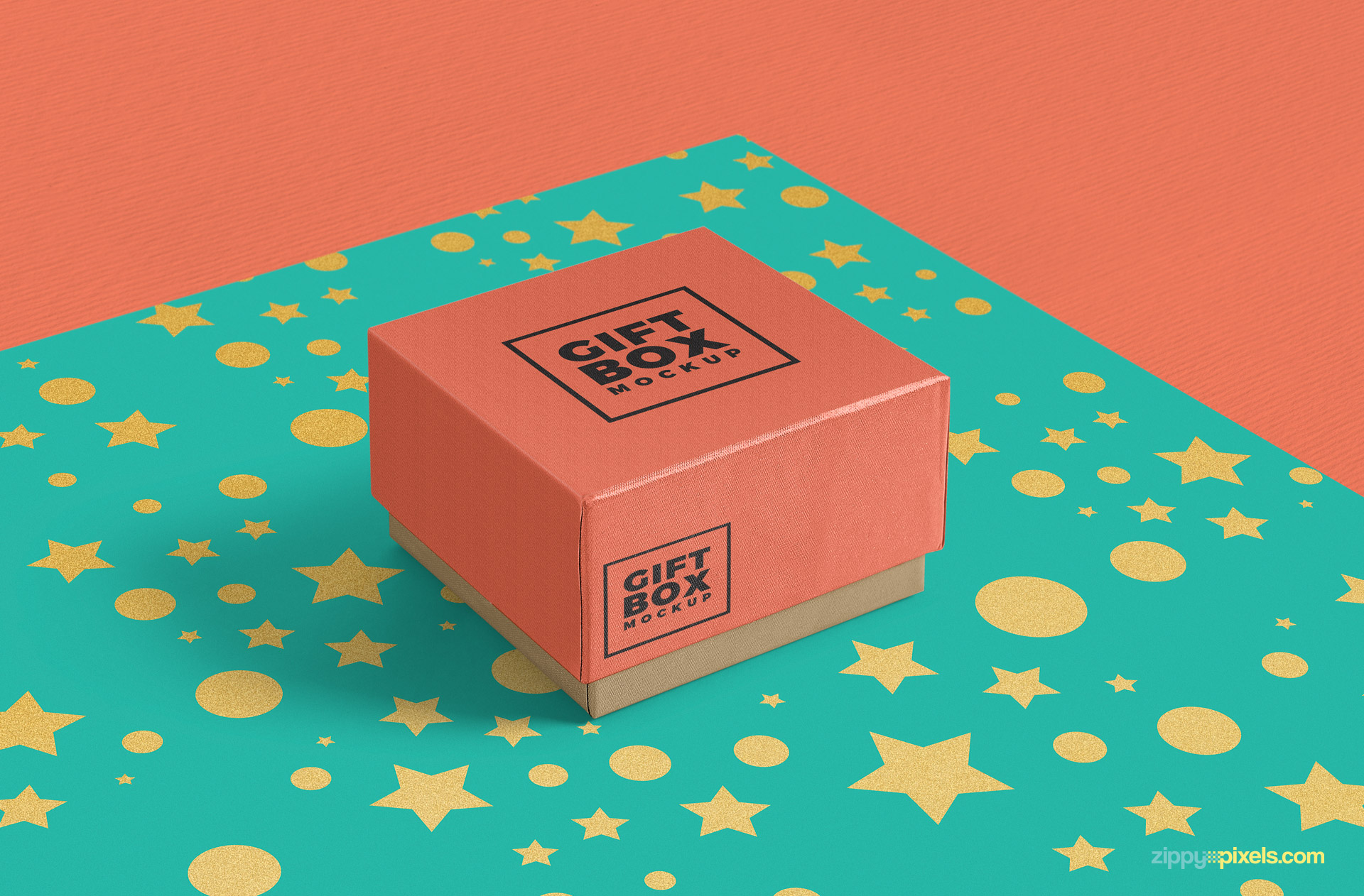 free gift box mockup with endless background color customizations