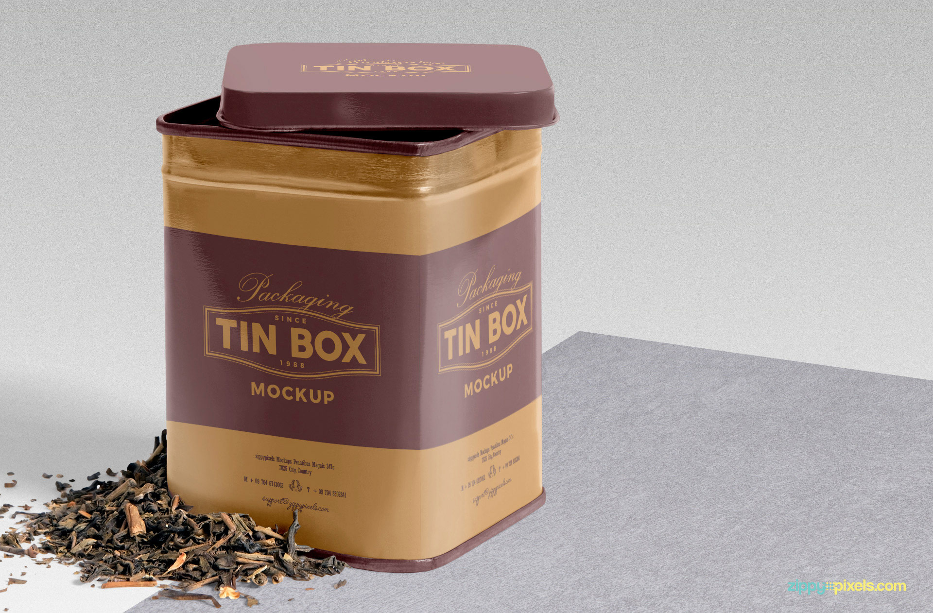 Close up view of free packaging box mockup