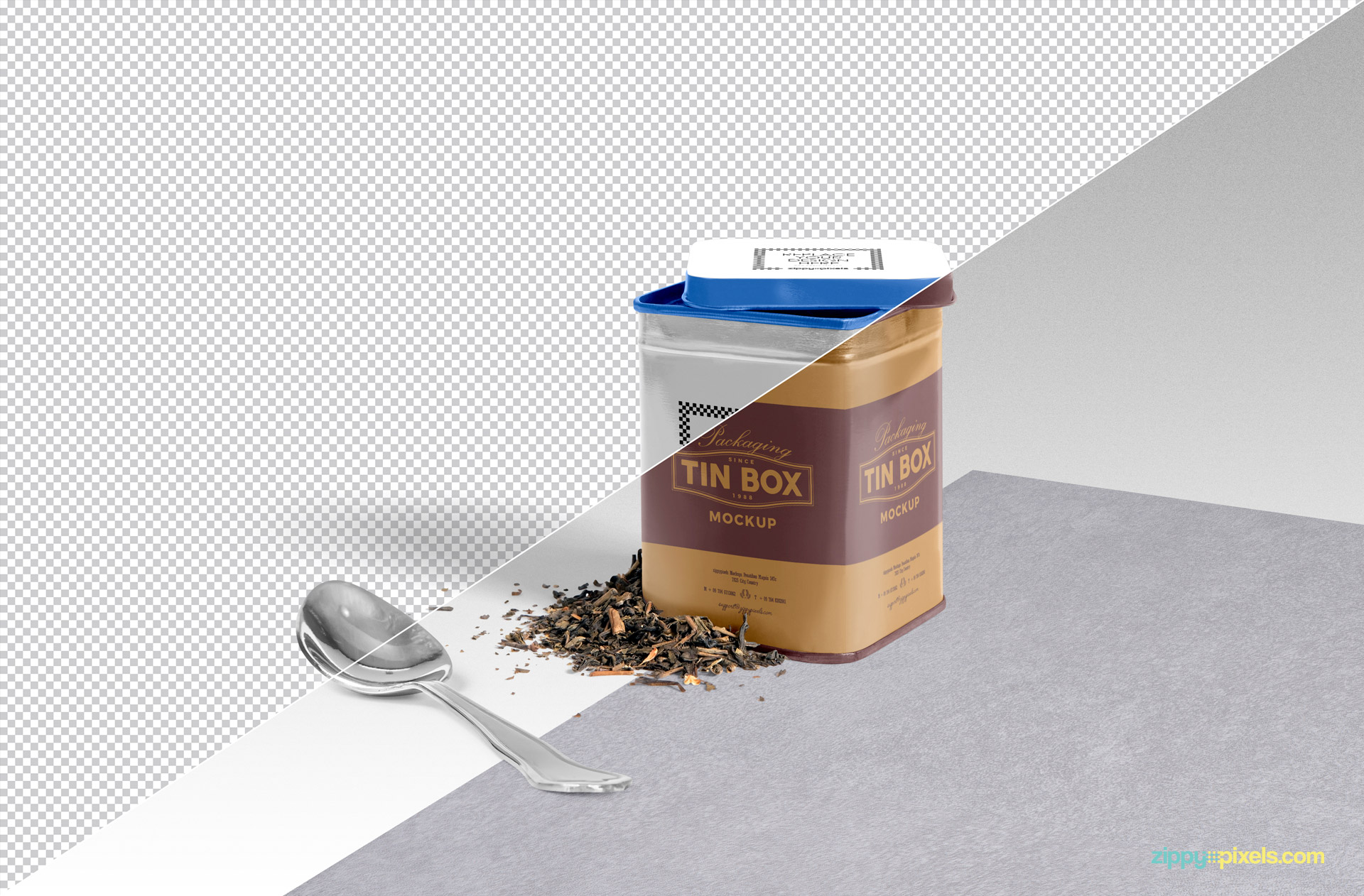 Free tin box mockup with changeable background option