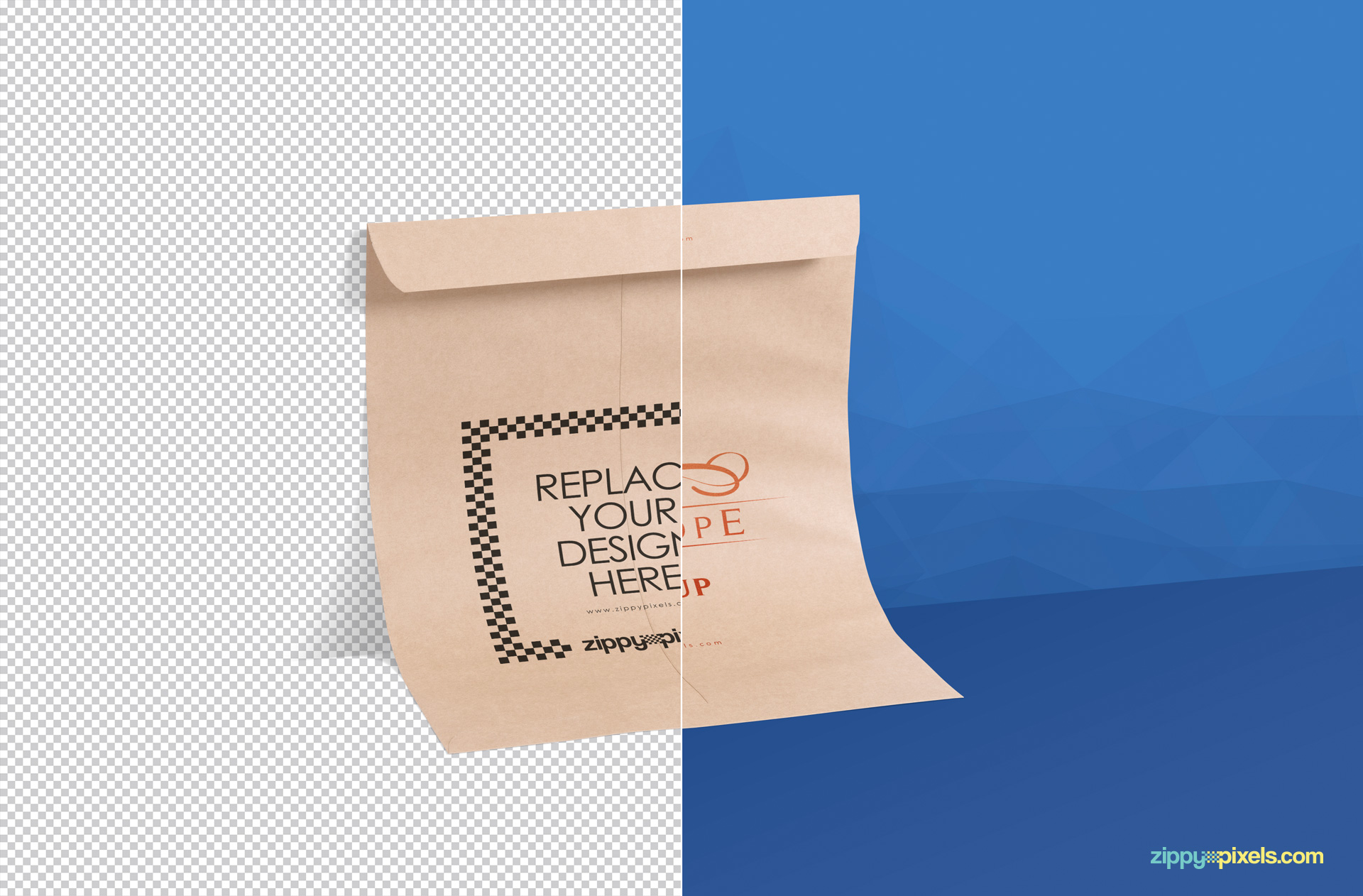 insert design in fully customizable envelope mockup psd