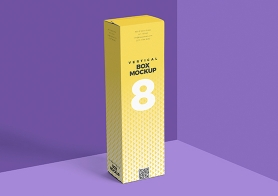 Free Vertical Box Mockup for Cardboard