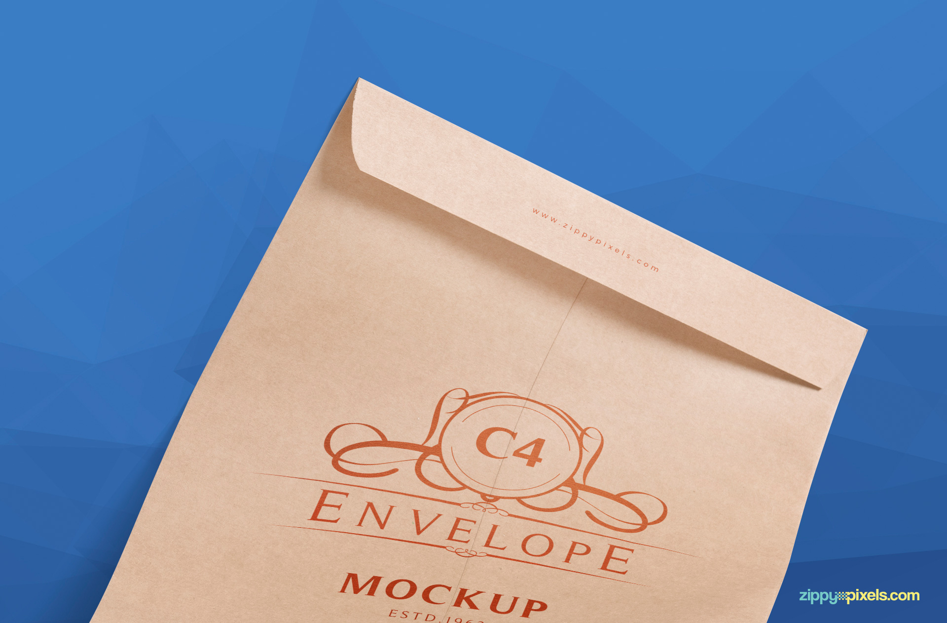 vertically placed envelope mockup psd free zoomed in