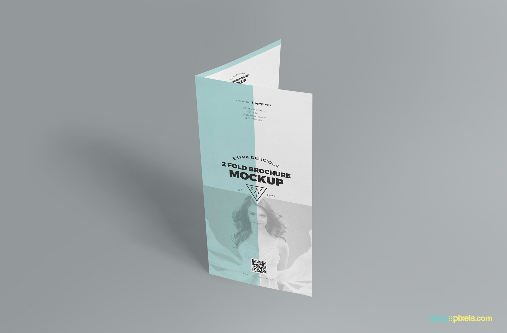 two fold brochure mockup placed vertically
