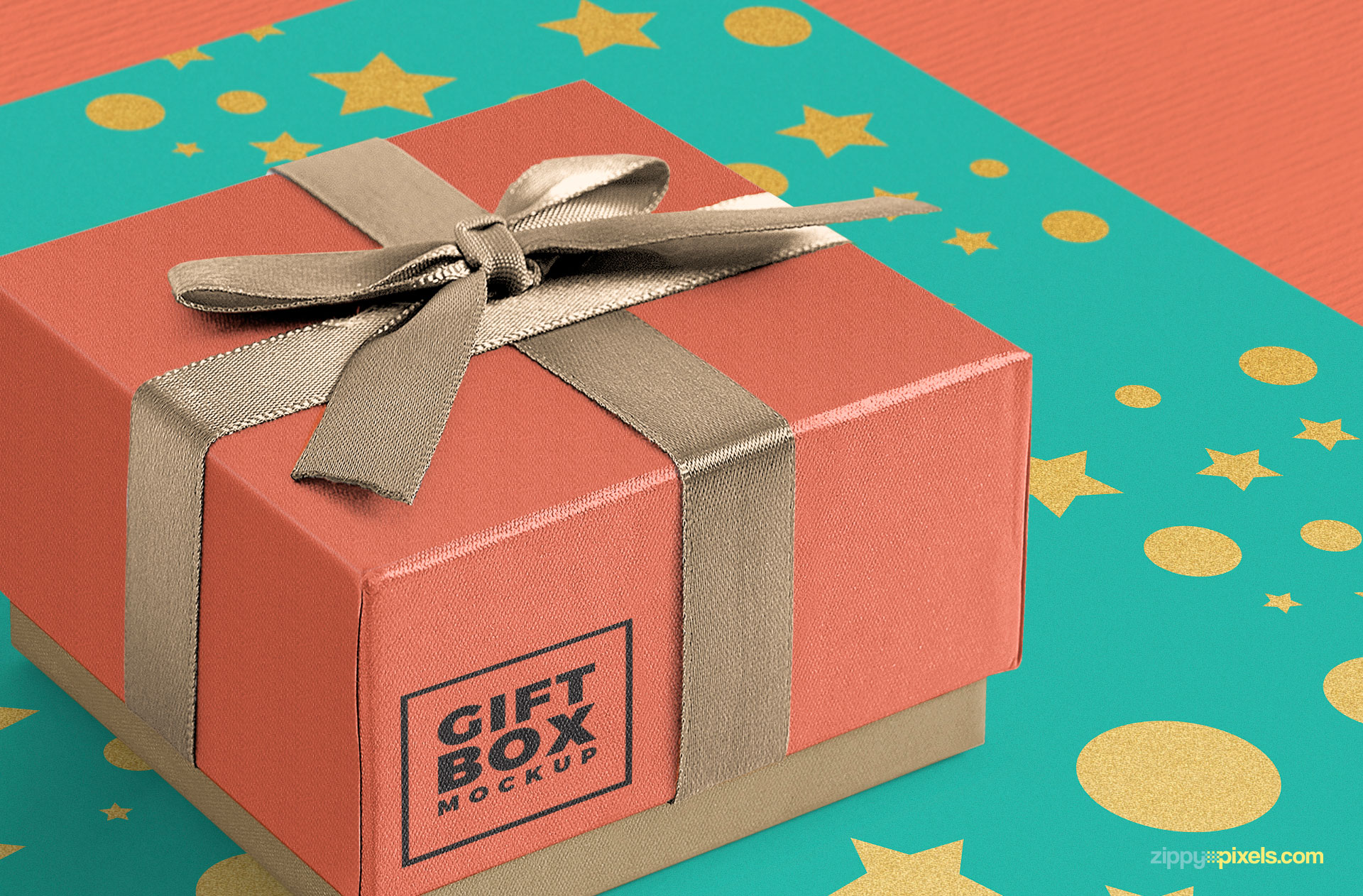 close up view of free gift box mockup photoshop design file