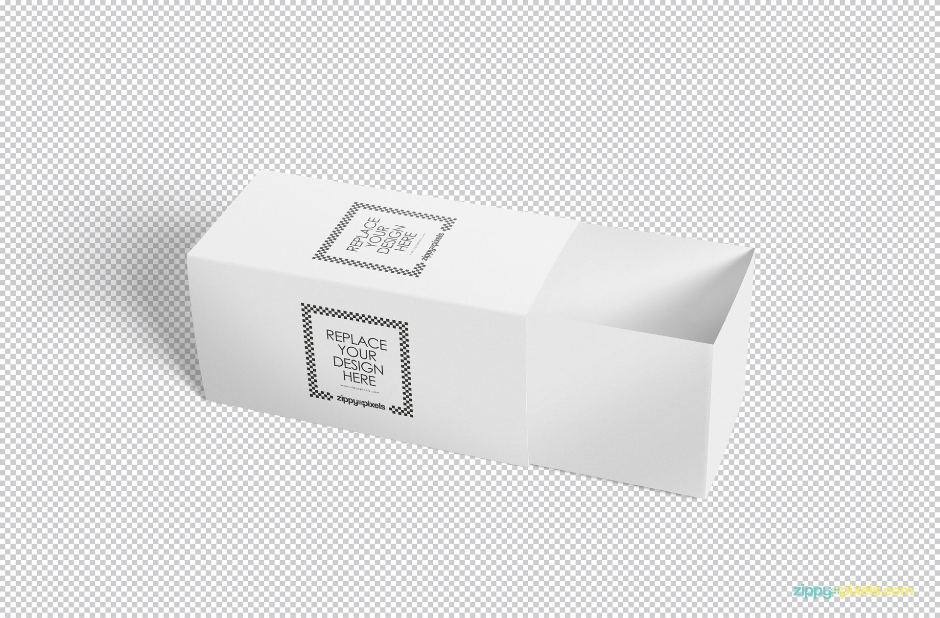 Plain white sliding box mockup holding ability to edit every element in adobe Photoshop.