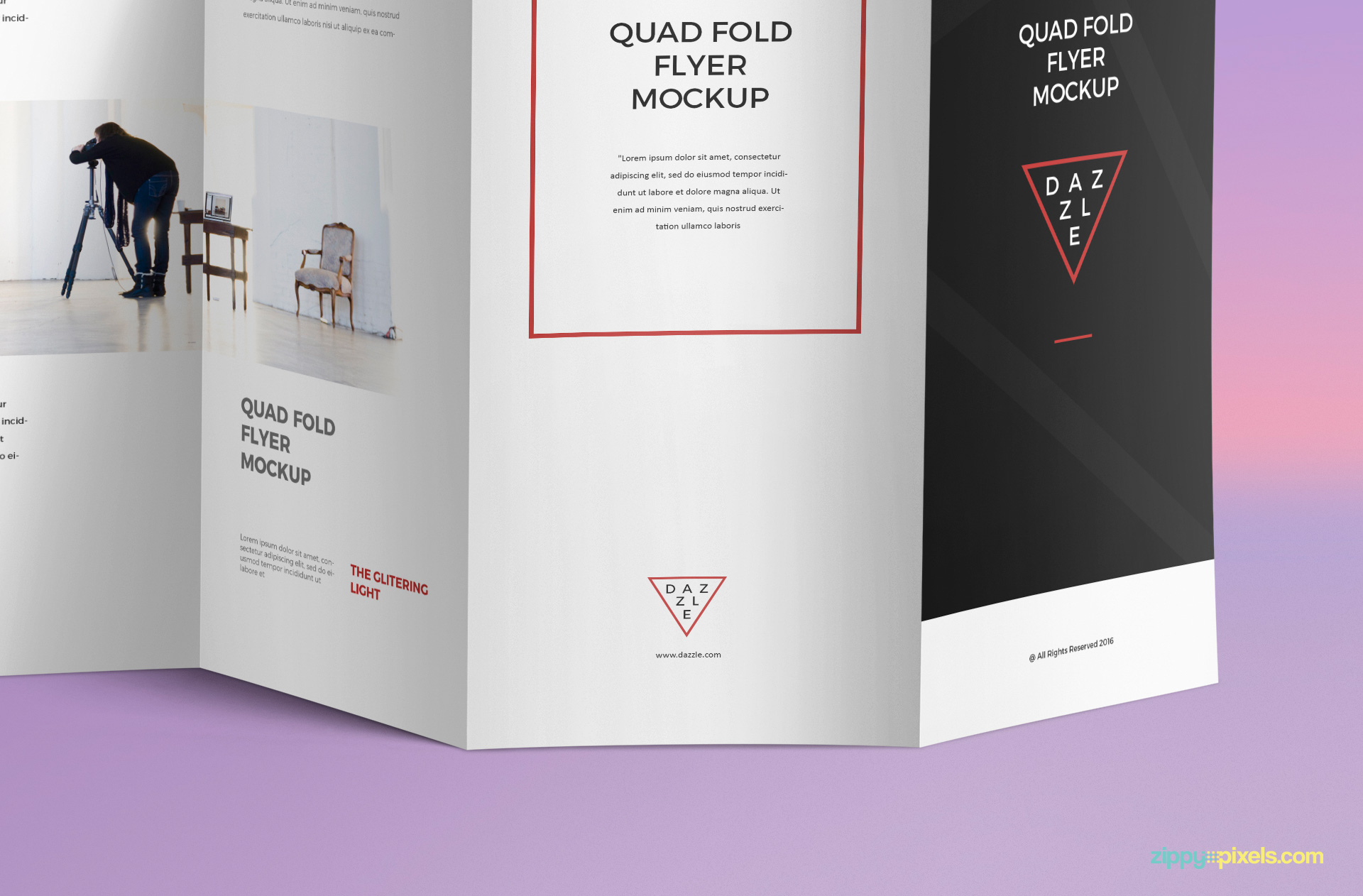 You change the designs of this brochure mockup in Adobe Photoshop.