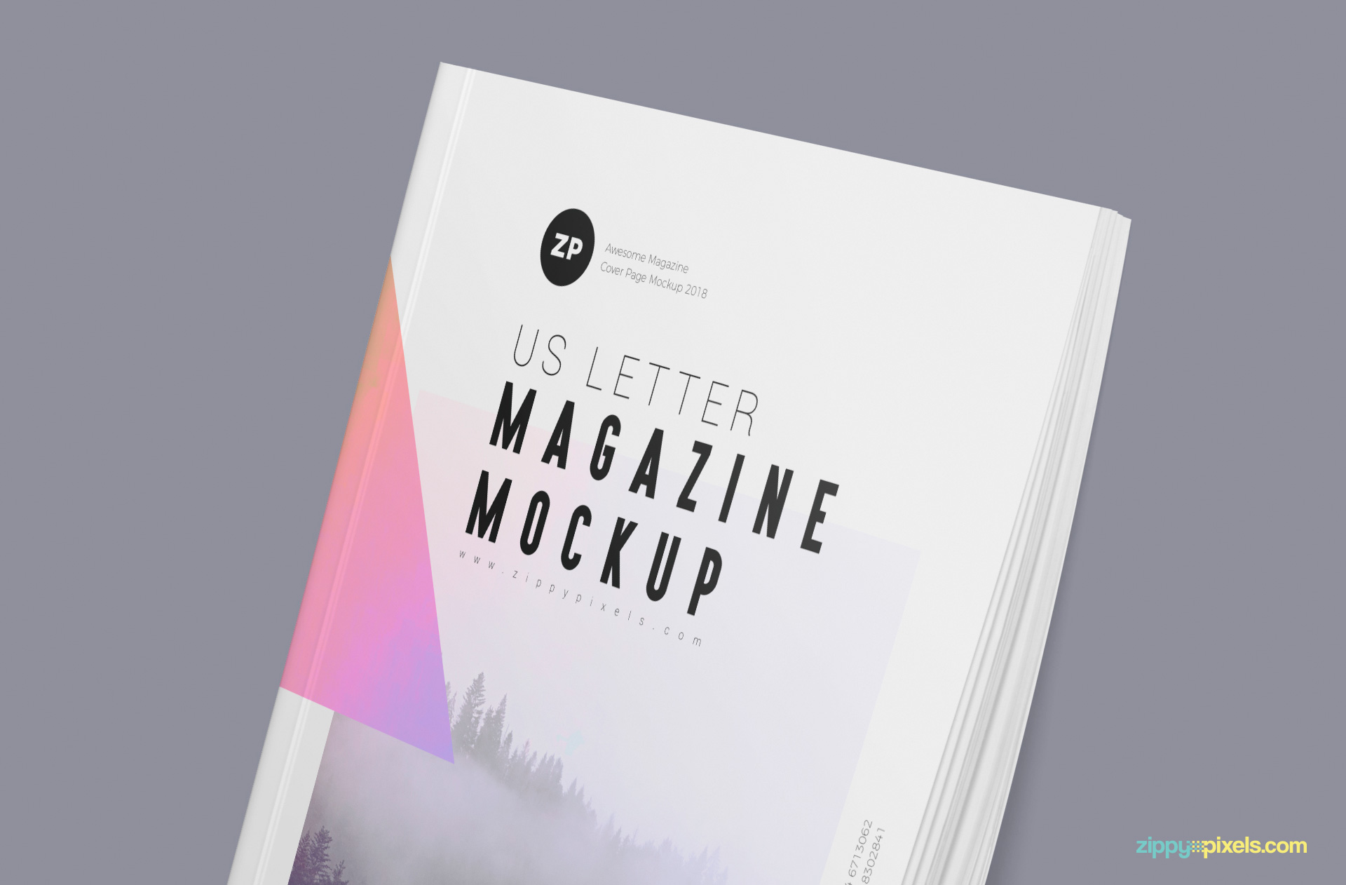 A clear and close view of magazine mockup that helps in presenting magazine designs.