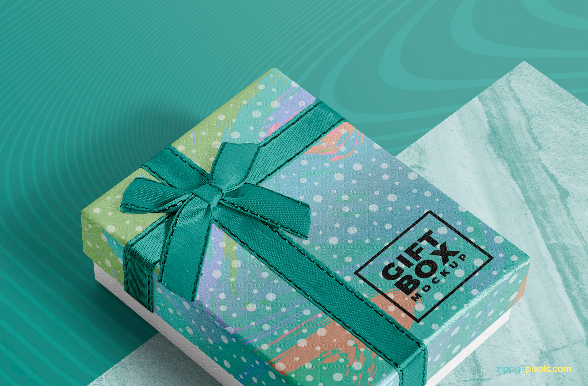 This gift box mockup comes with a customizable ribbon.