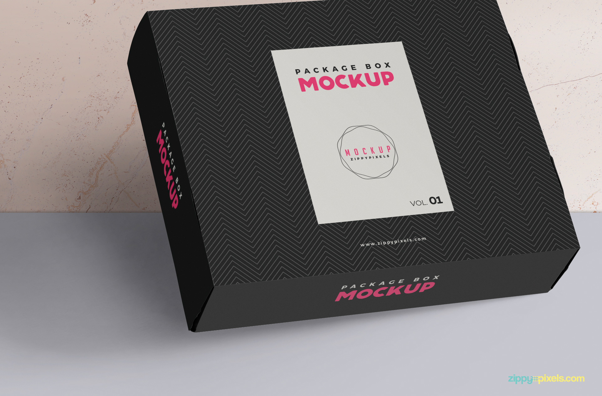Use smart object option to customize the side design of this box mockup.