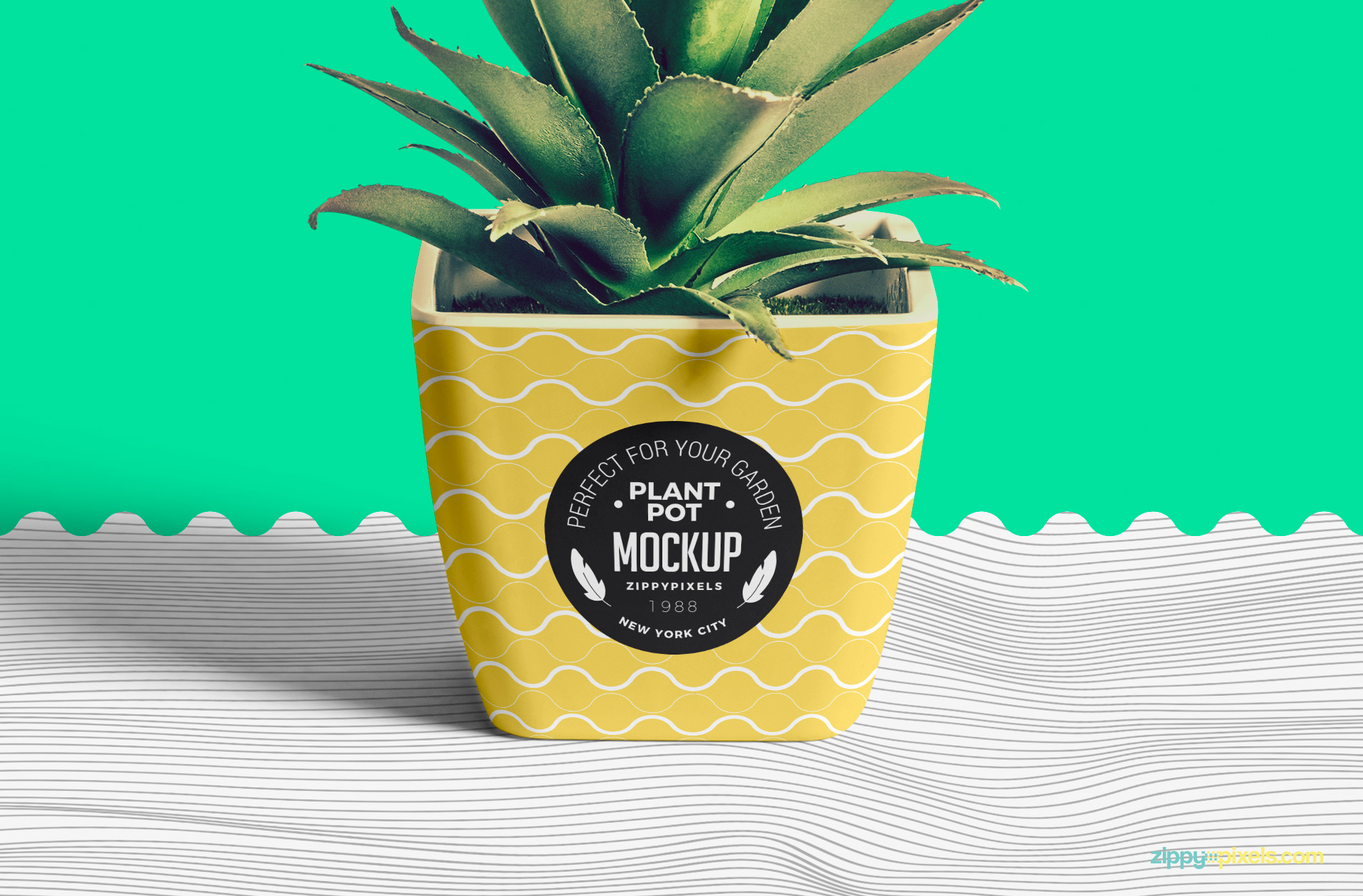Stripped floor under this flower pot mockup is also customizable.