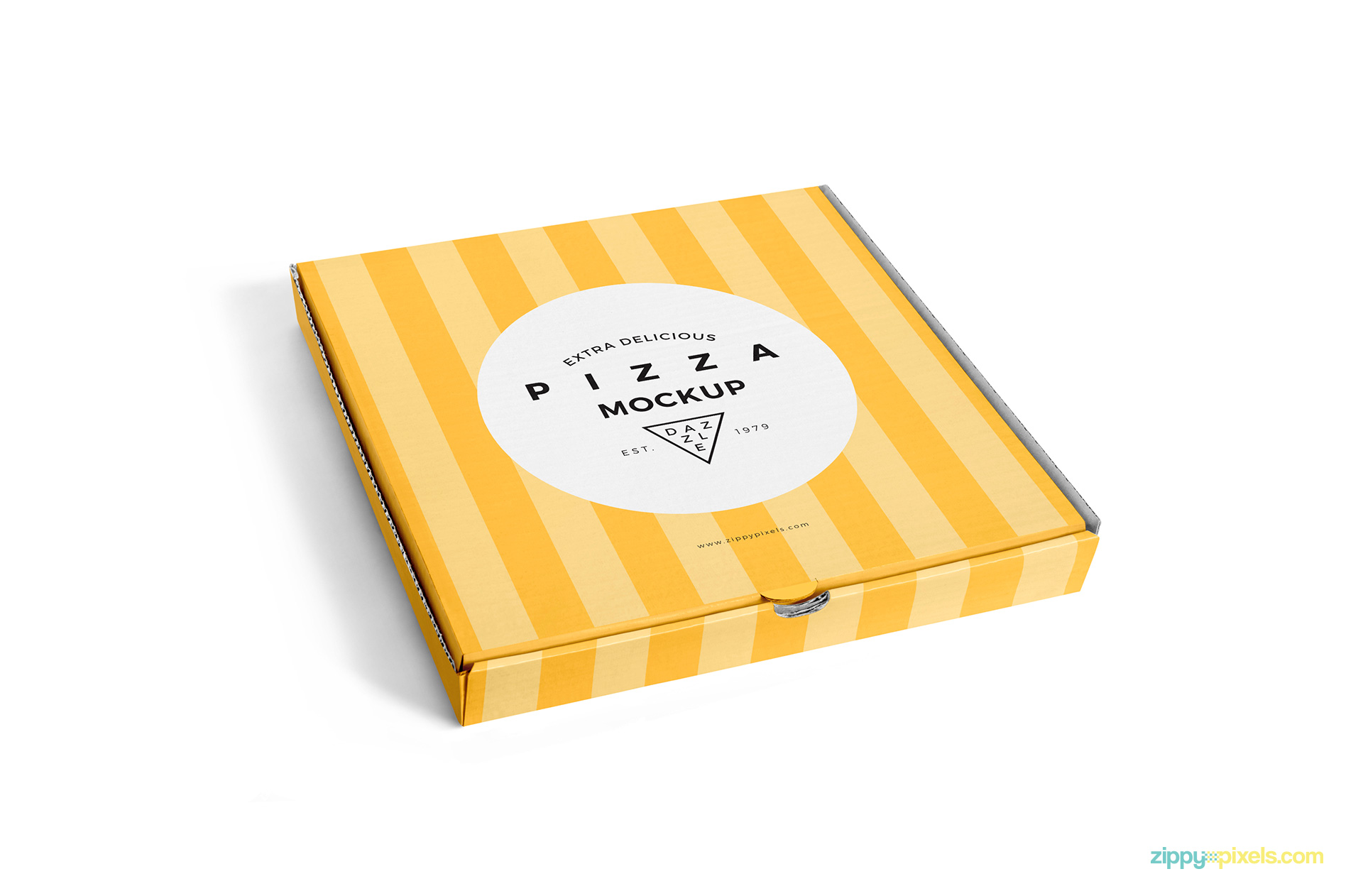 Delicious pizza box mockup for free.