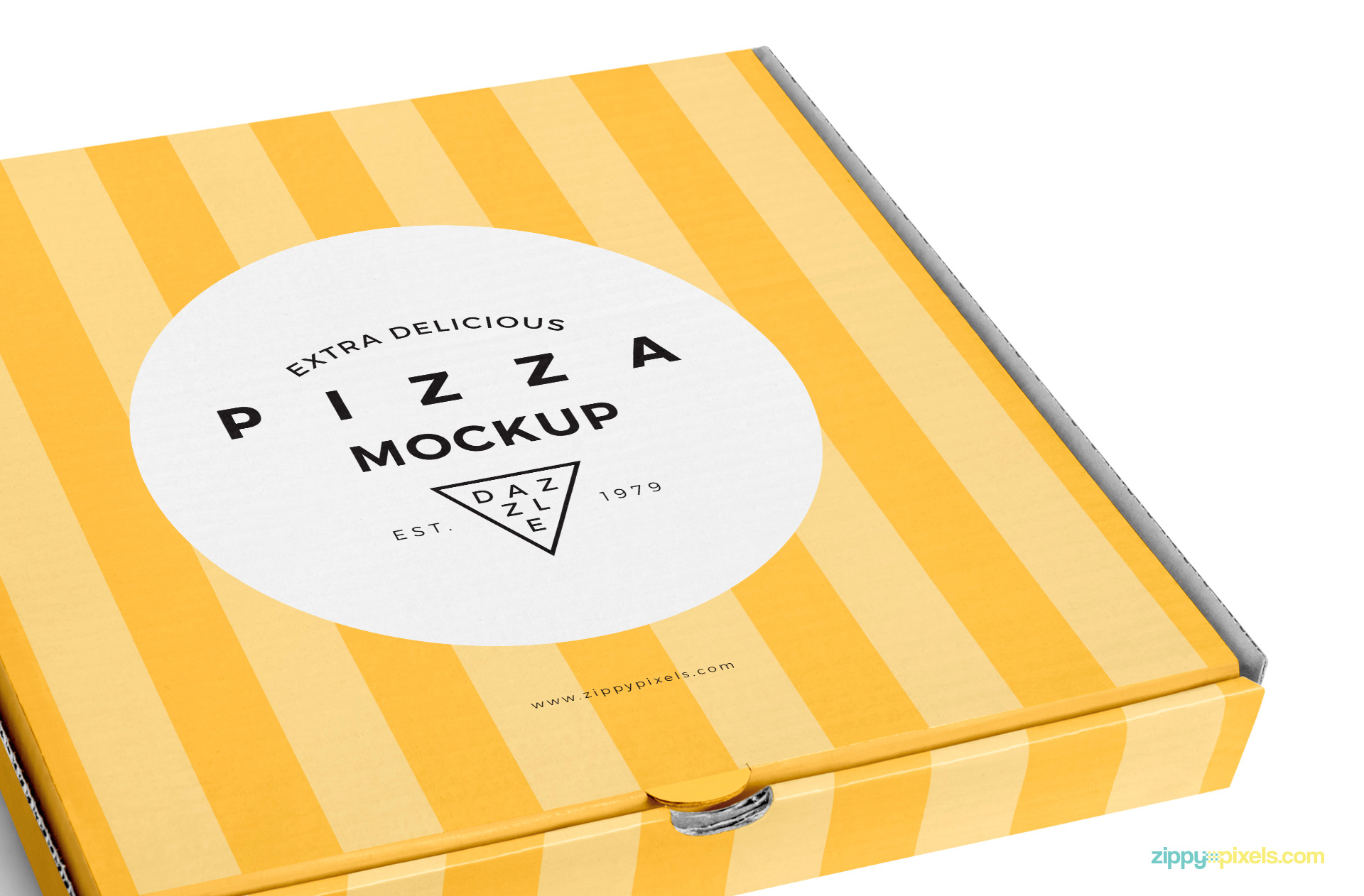 This free pizza box mockup comes with the smart object to change the top design.