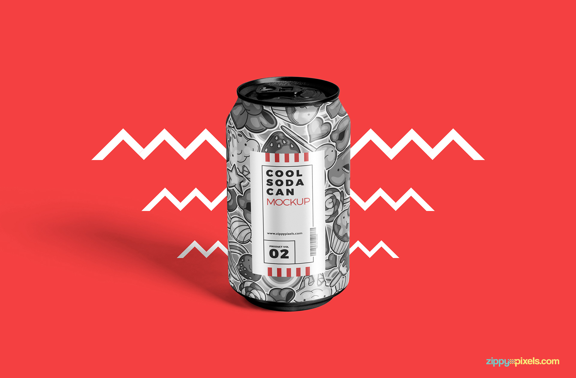 Free tin soda can mockup.