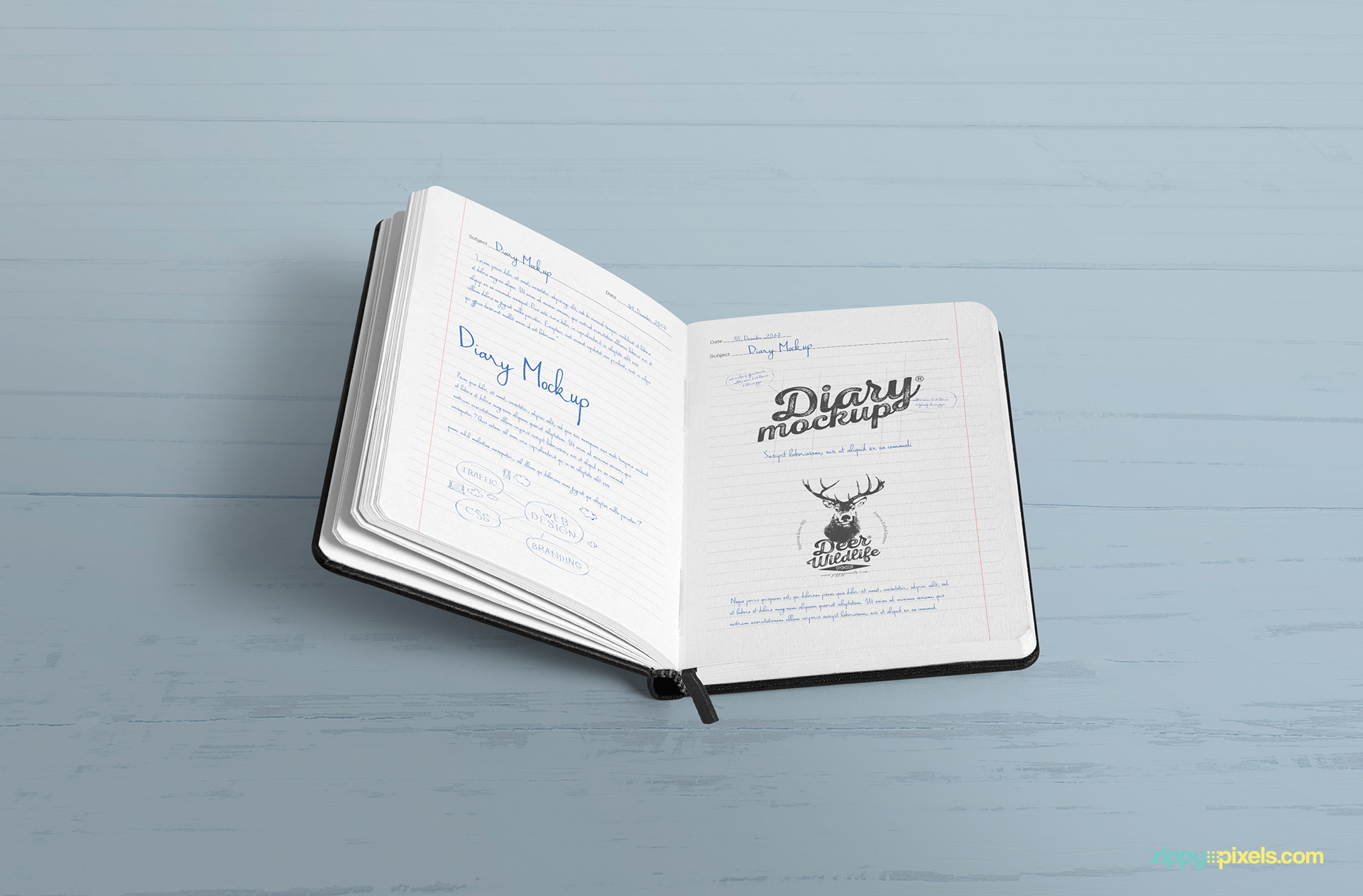 Full view of diary mockup psd with changeable background.