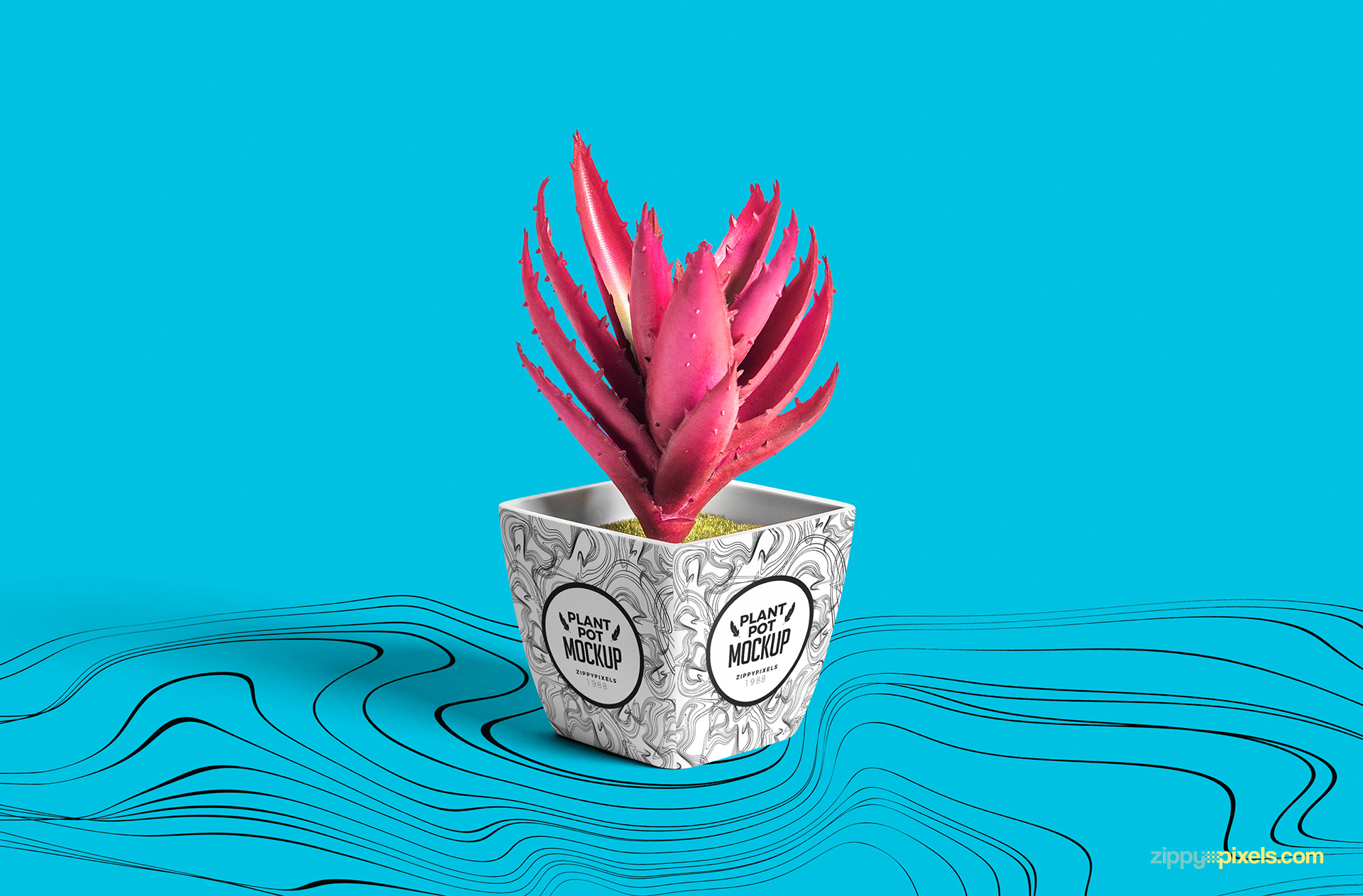 Customizable stripes illusion pattern on the background of the pot mockup PSD.