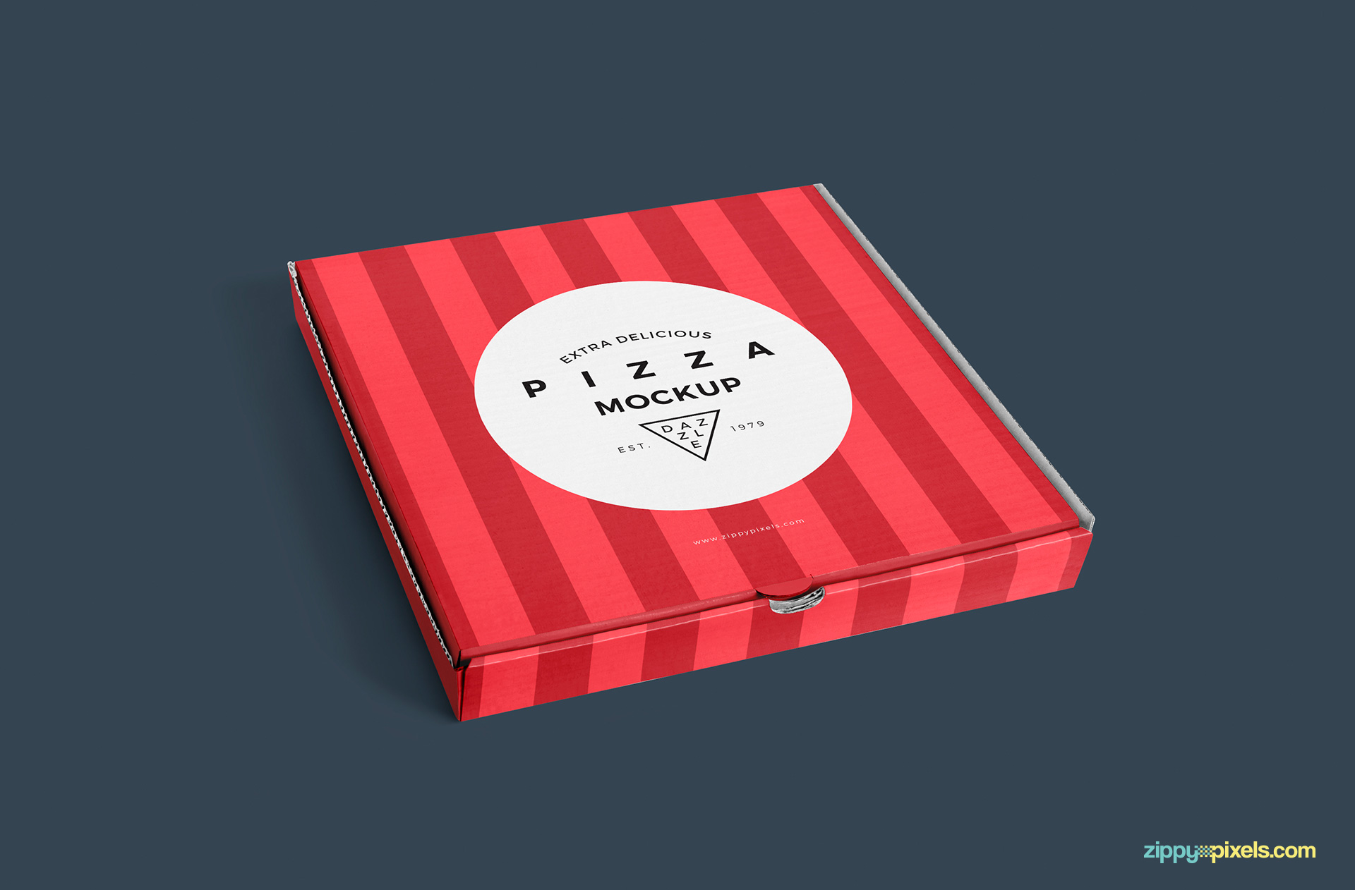 Amazing light effects of the pizza box mockup free.