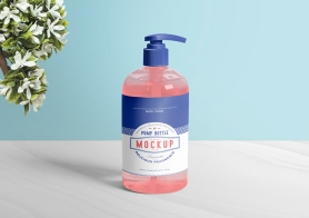 Free Dispenser Pump Bottle Mockup