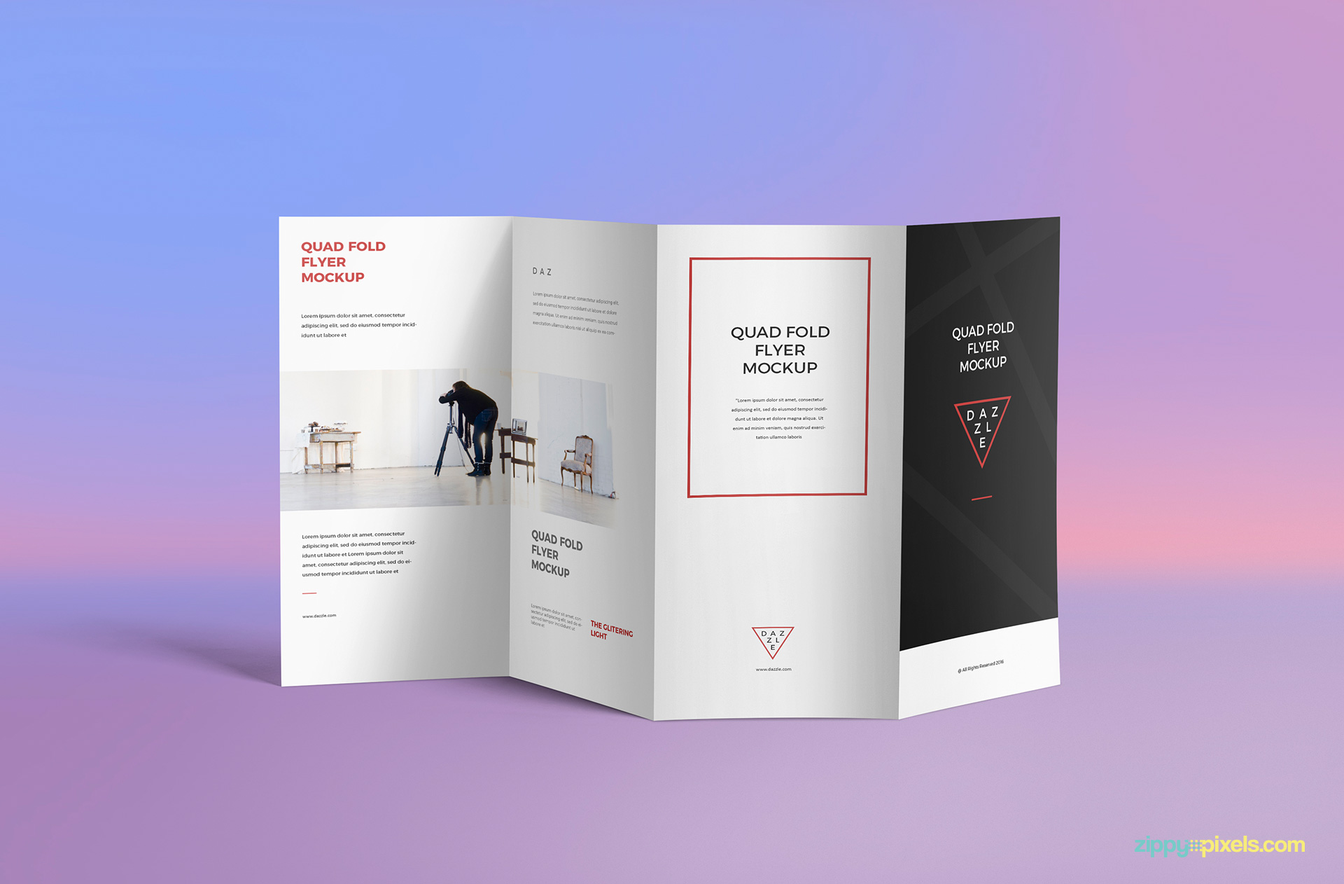 Quad-Fold Brochure Mockup with an amazing background.