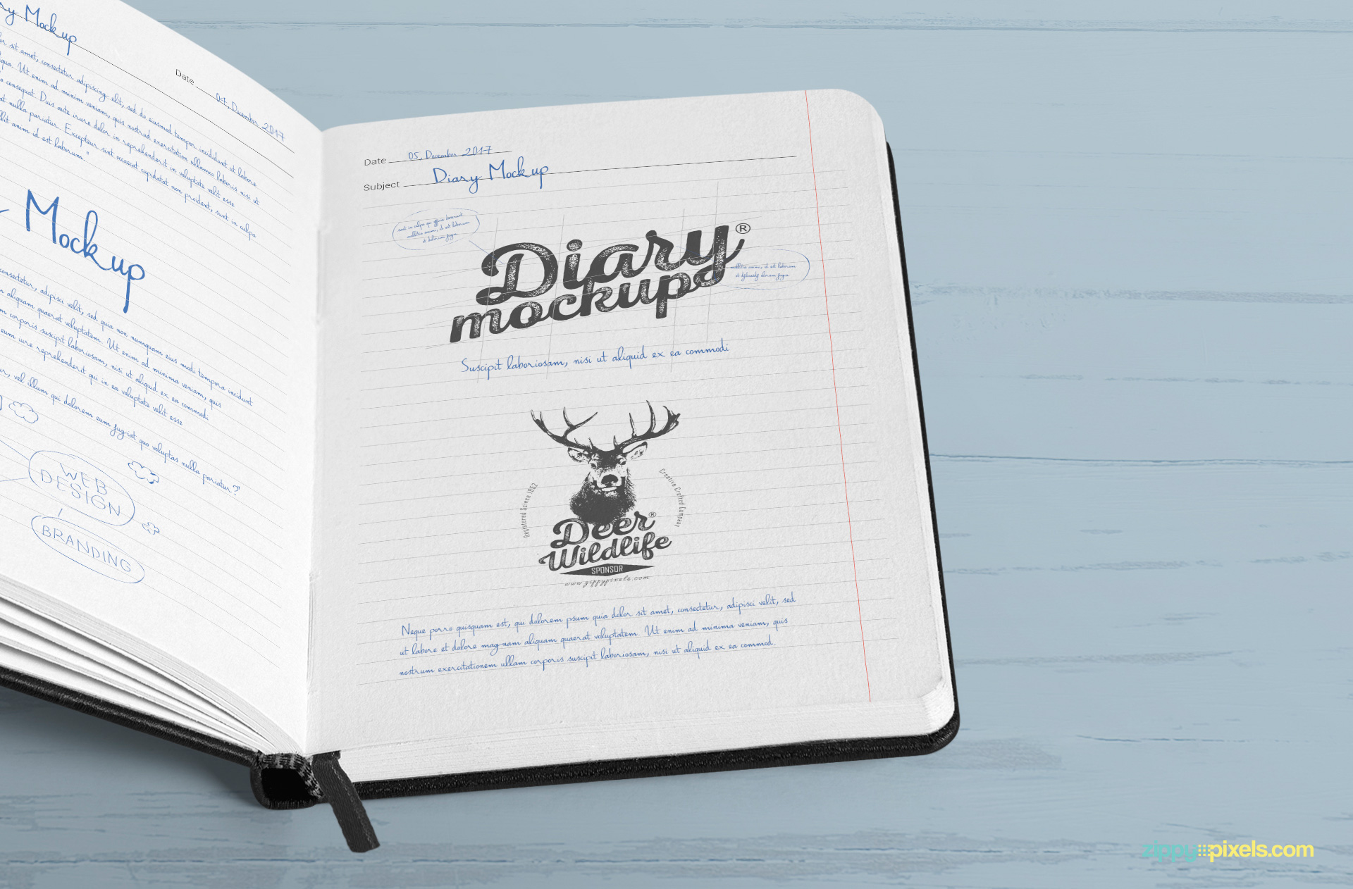 You can edit the color of ribbon marker and binding of this open diary mockup.