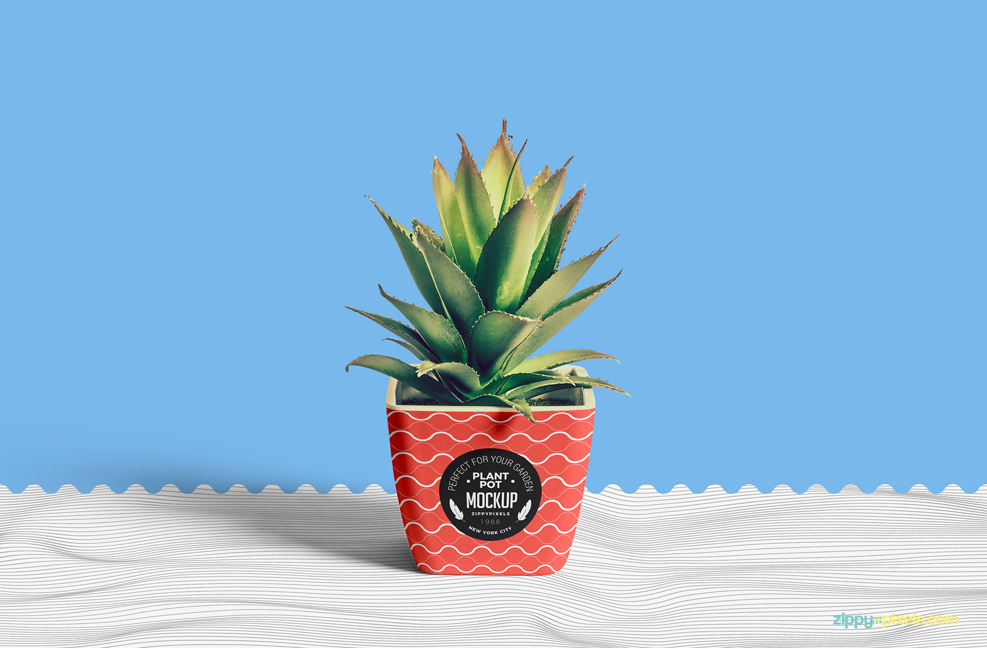 Use smart object to change the design of this free pot mockup.