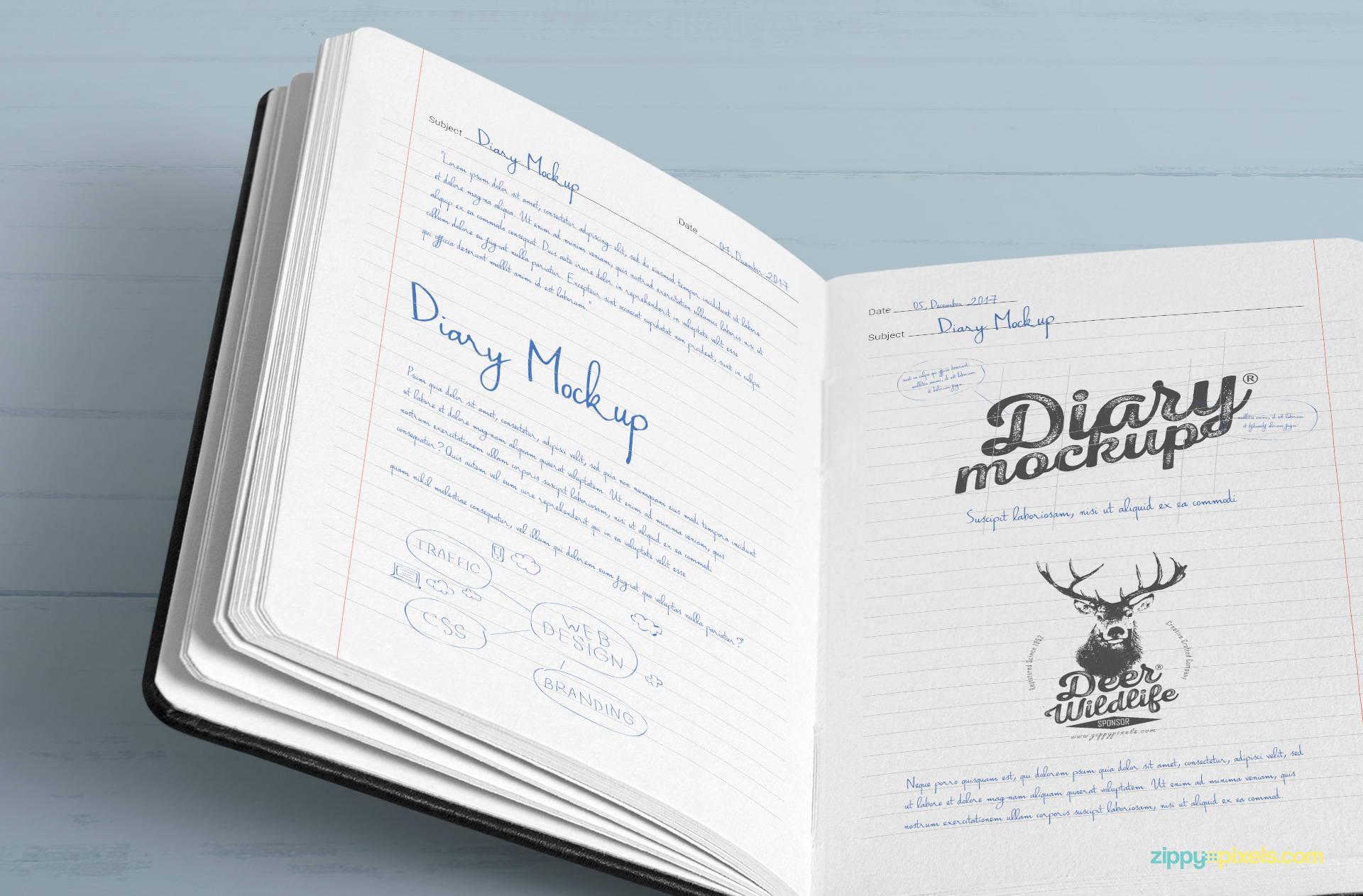 Changeable color and design of stack and inner pages of the diary mockup.