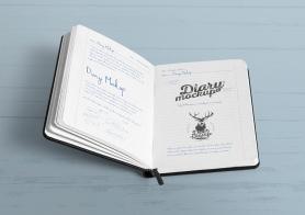 Free Open Diary Mockup