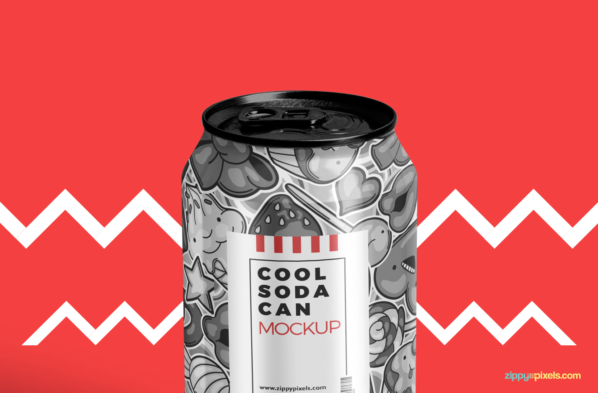 This soda can mockup PSD offers changeable color of the top of the cap.