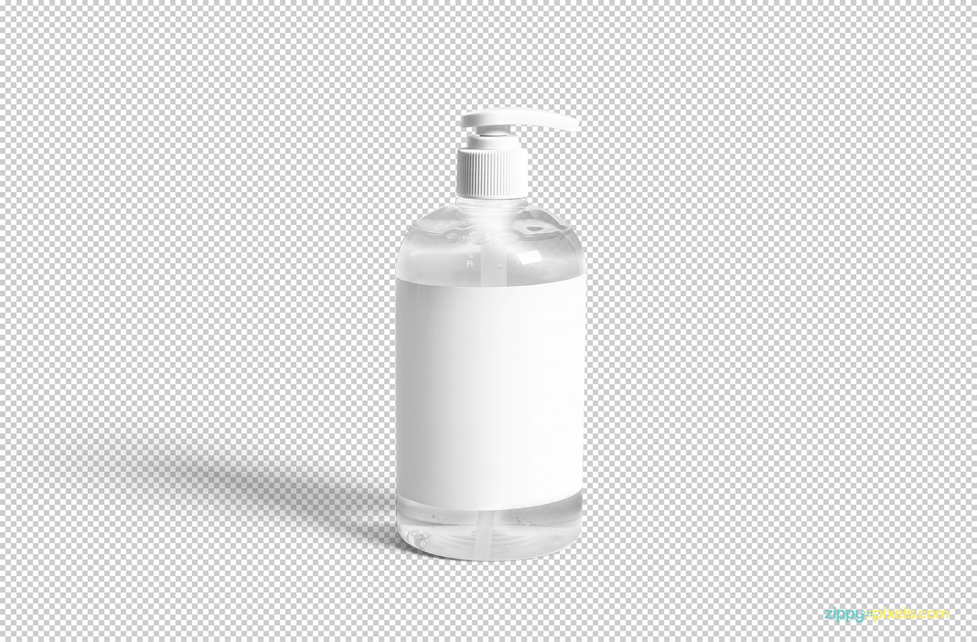 This pump bottle mockup is available in PSD format so you can edit it in Adobe Photoshop.