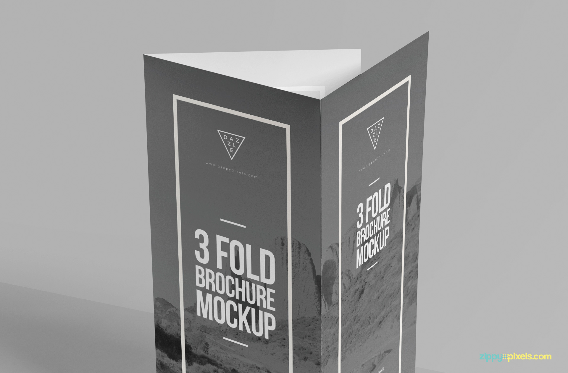 Shadows and background are adjustable of this brochure mockup.