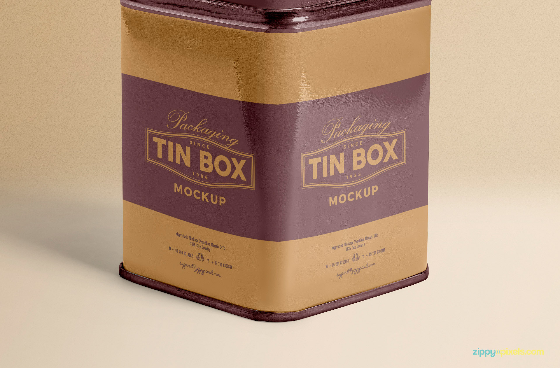 You can change the front and side design of this free box mockup.