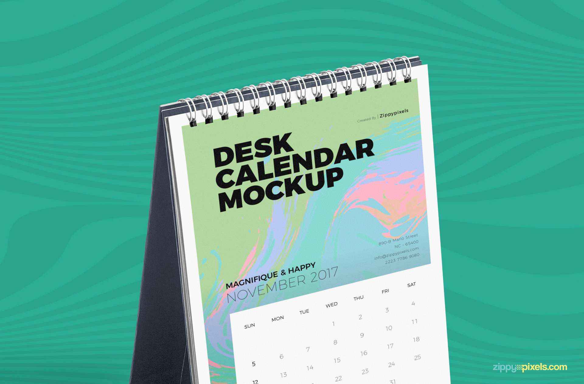 You can customize the front design of this table calendar mockup.