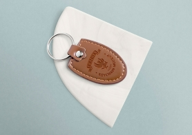 Free Leather Keychain Mockup with Changeable Marble Base
