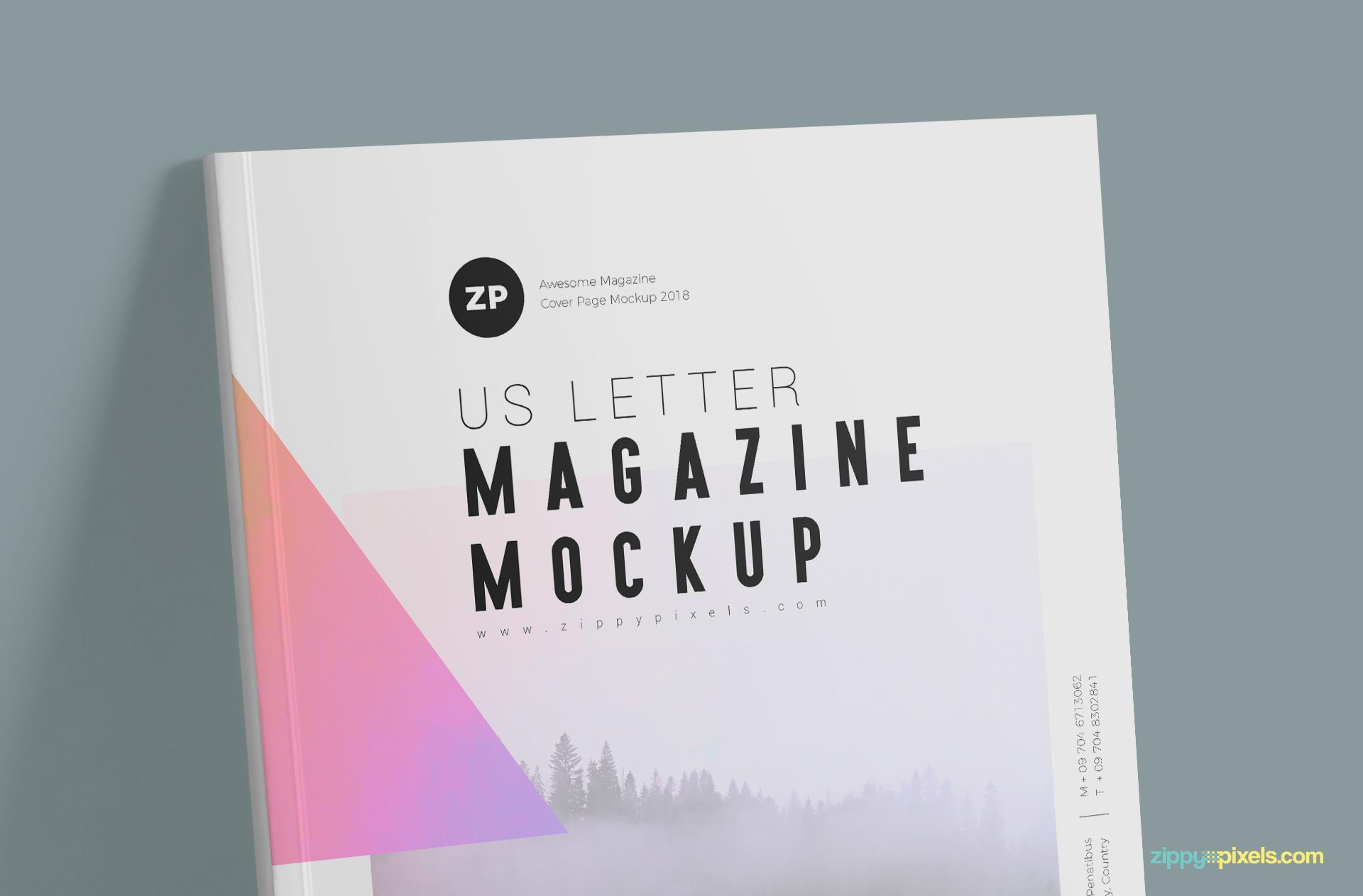 Free US Letter Magazine Mockup PSD by ZippyPixels.