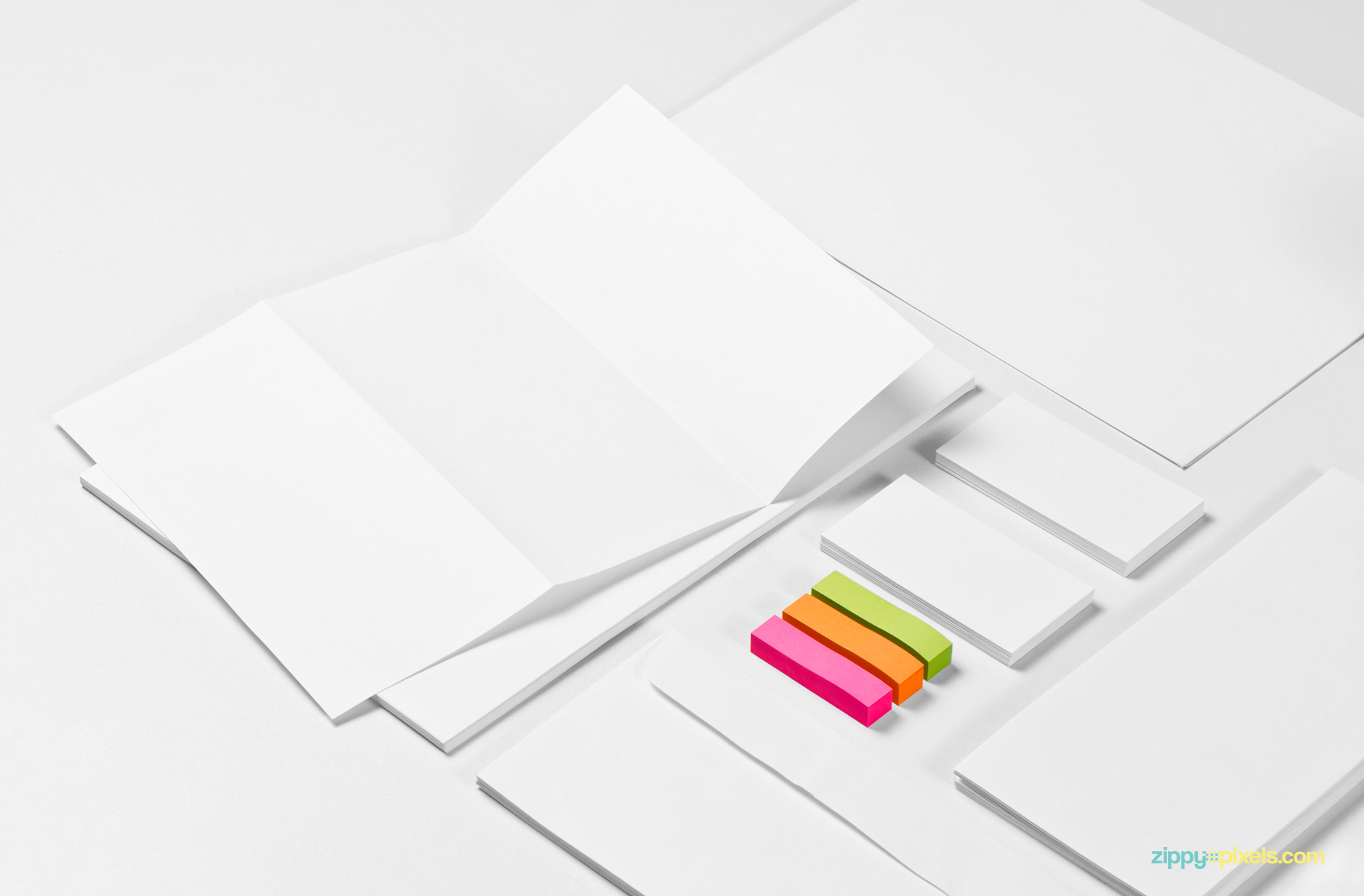 Use Adobe Photoshop to edit every single part of this Free Stationery mockup Scene.