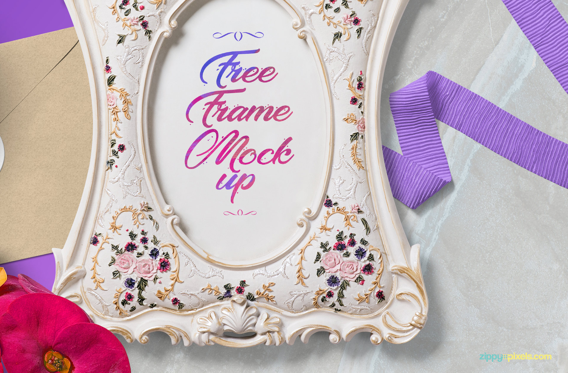 Beautiful free picture frame mockup with smart object option.