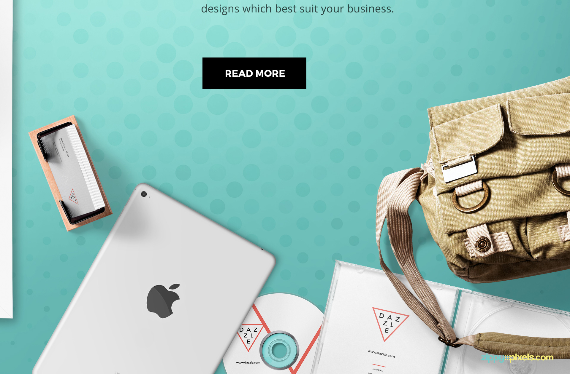 All items including this iPad, business card, CD, bag, and CD cover are placed on separate folders.