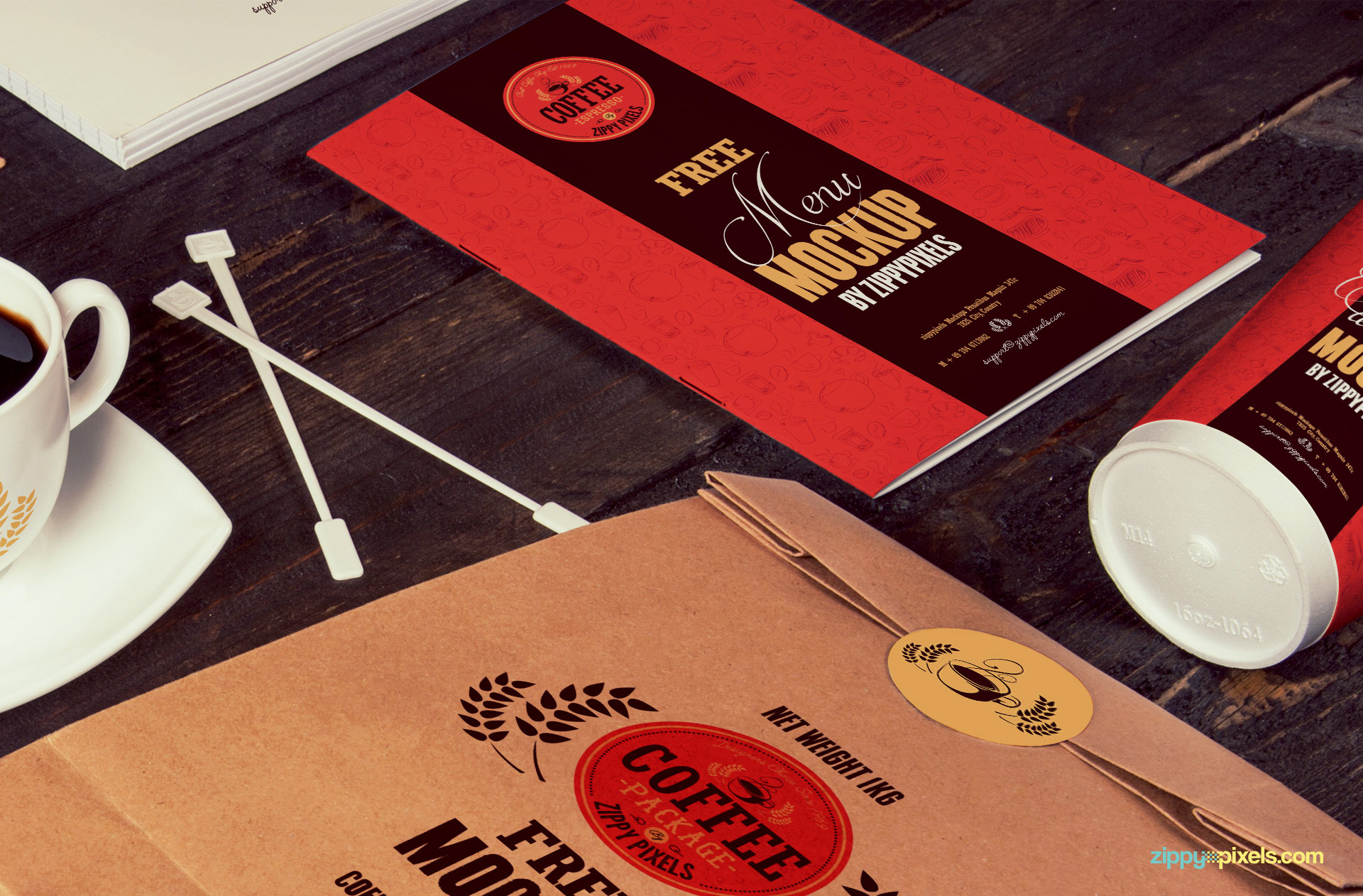 You can customize the menu card and take-away bag as per your liking.