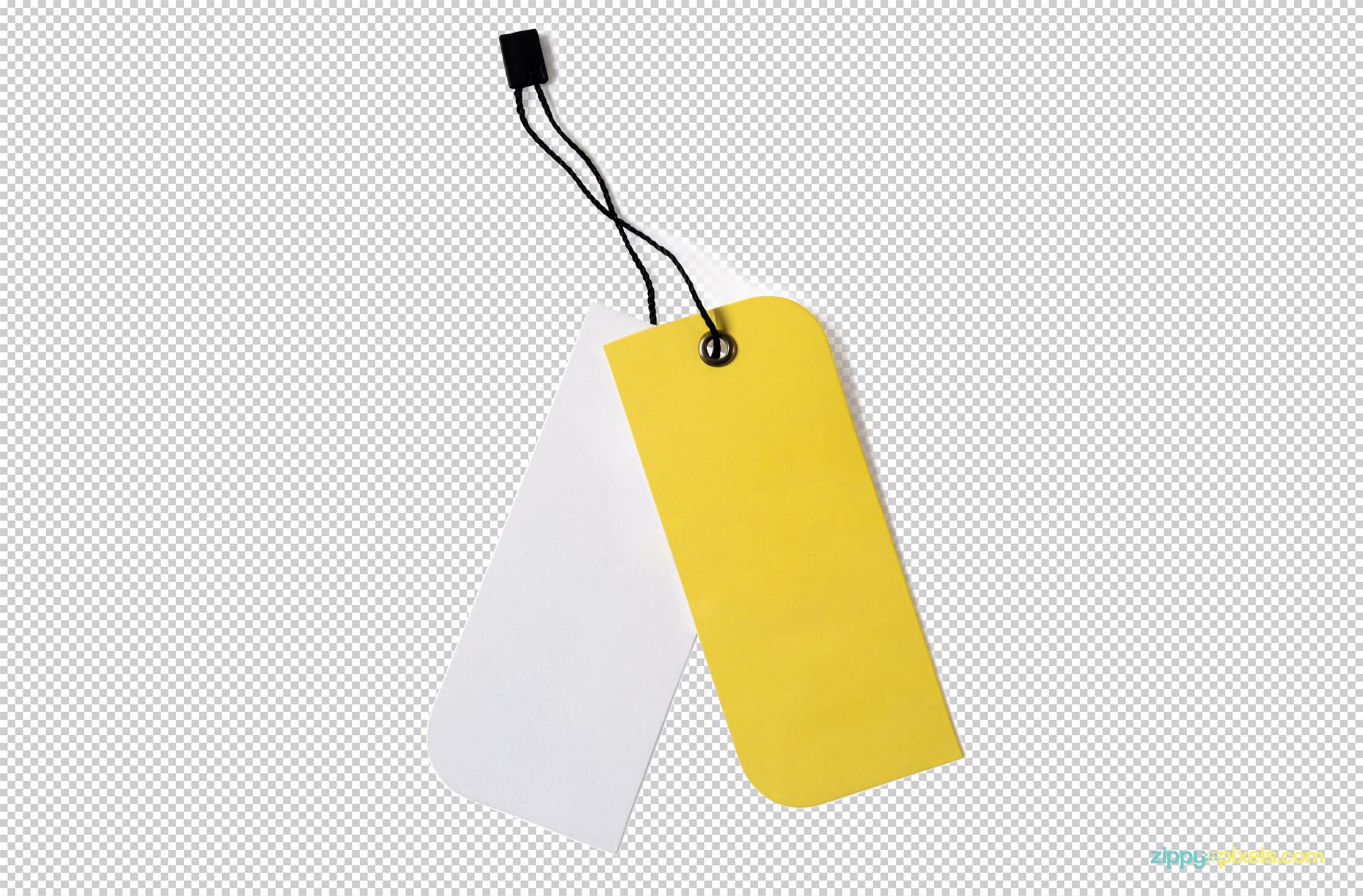 Customize clothing tag PSD mockup.