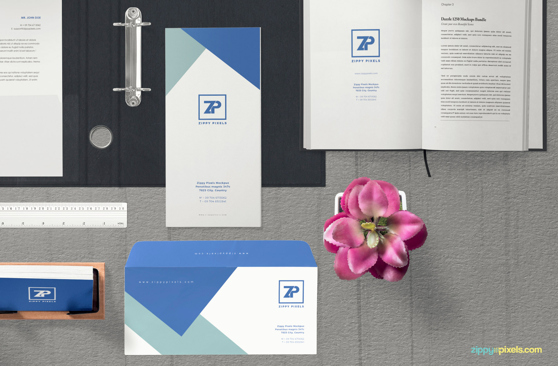 You can edit all of the office stationery items in this free mockup.