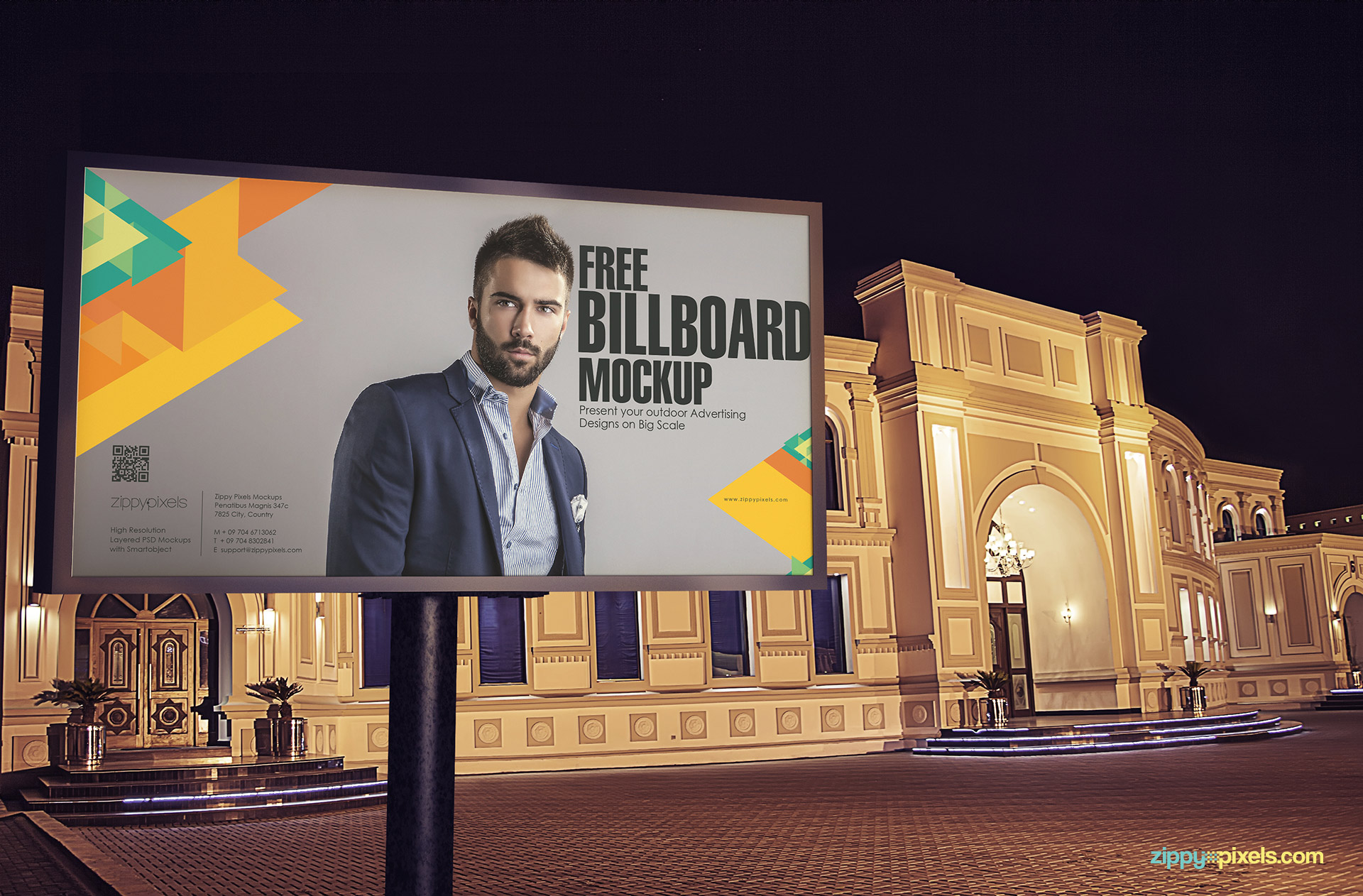 Full view of the free billboard mockup PSD.