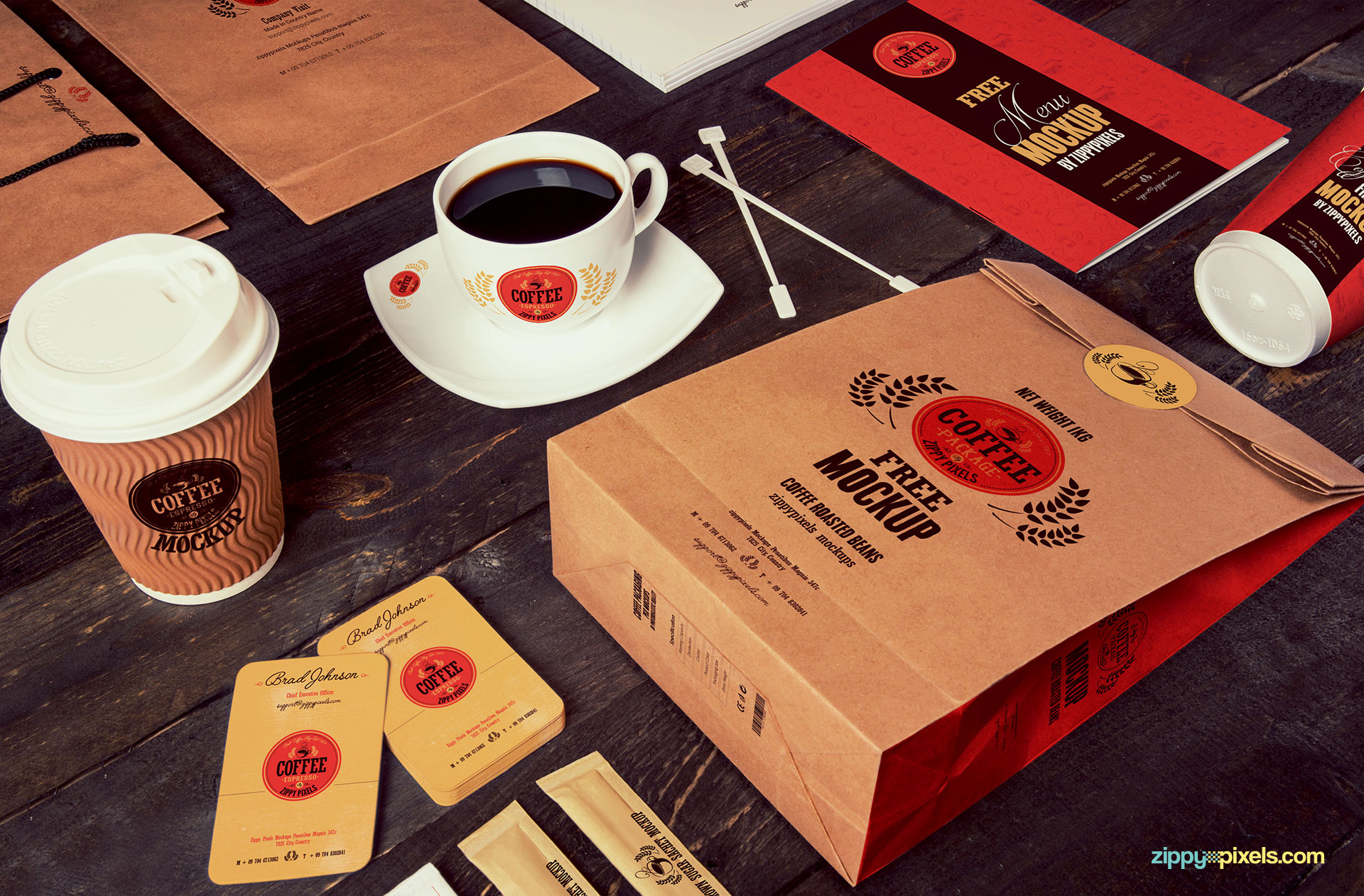 Free coffee branding mockup for every single item of a coffee shop.