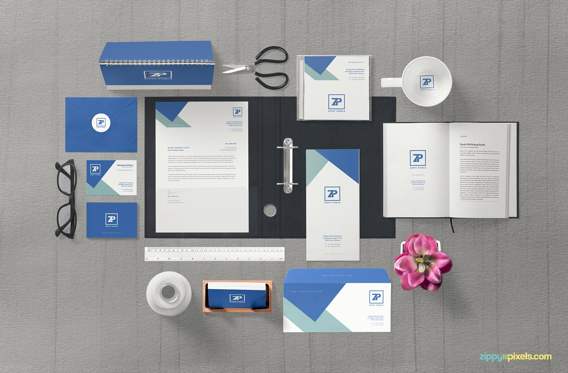 Full customizable free corporate identity mockup PSD.
