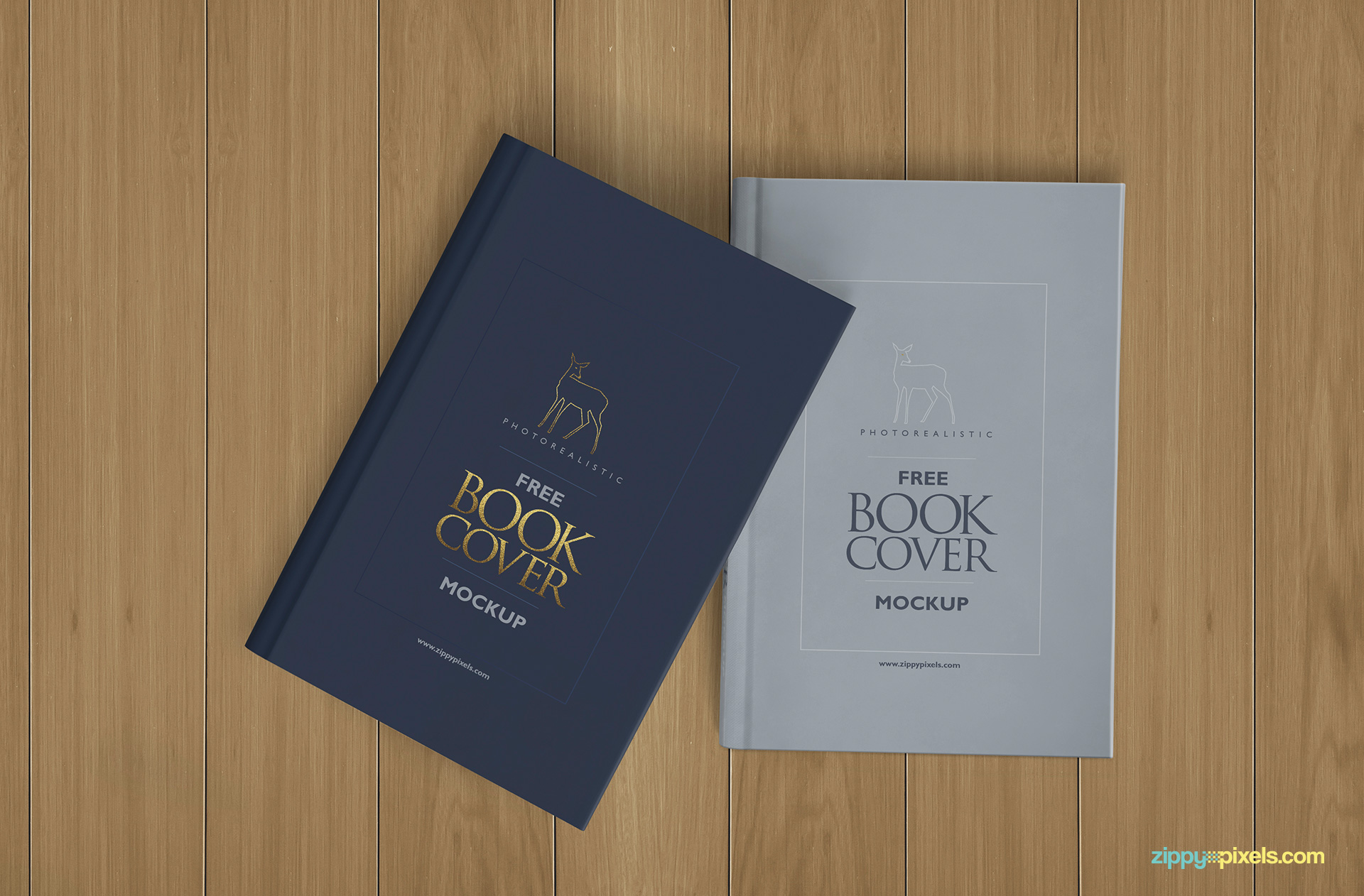 Free hardcover book mockup with wooden background.