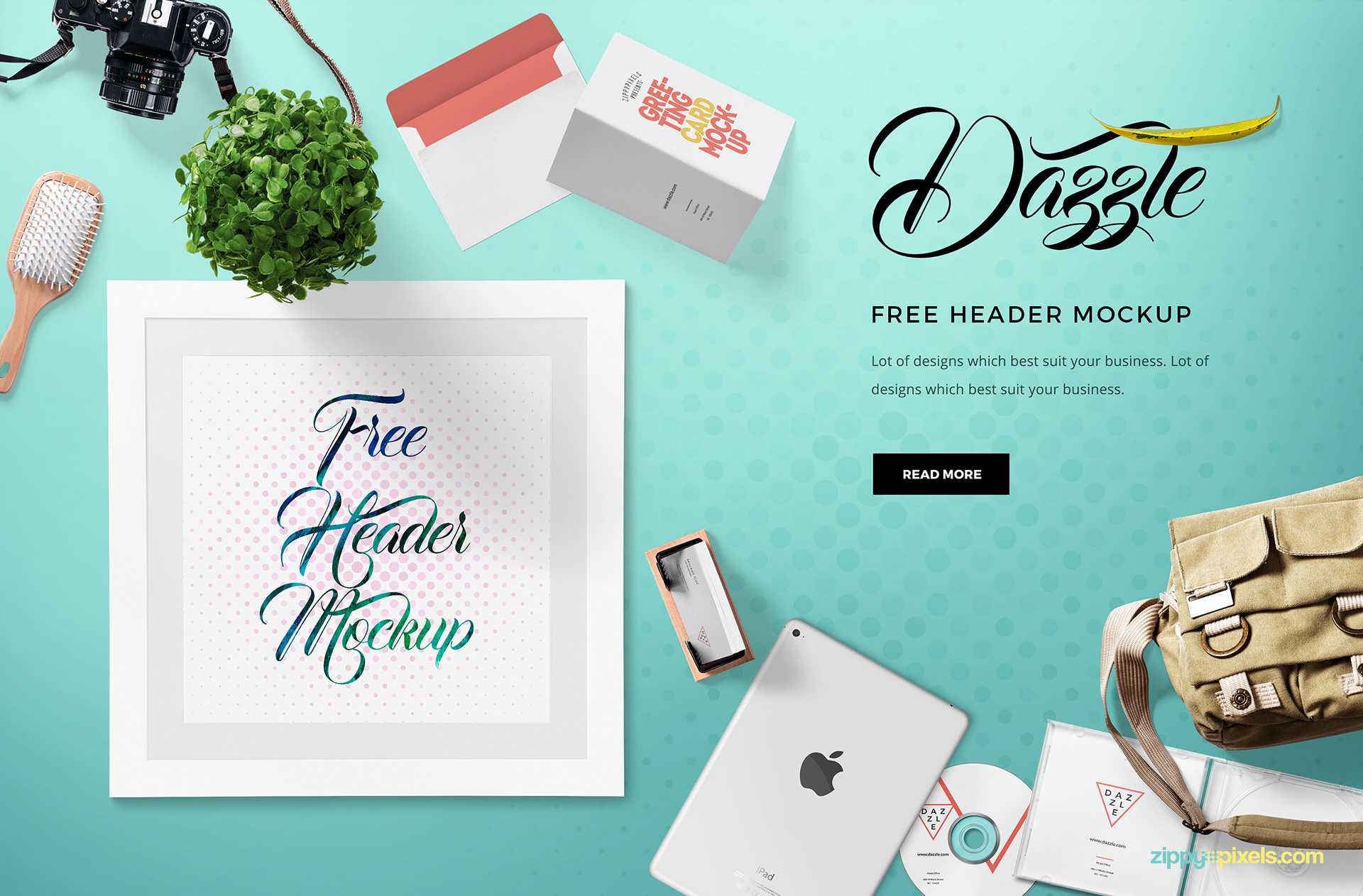 Free hero header mockup with moveable objects.