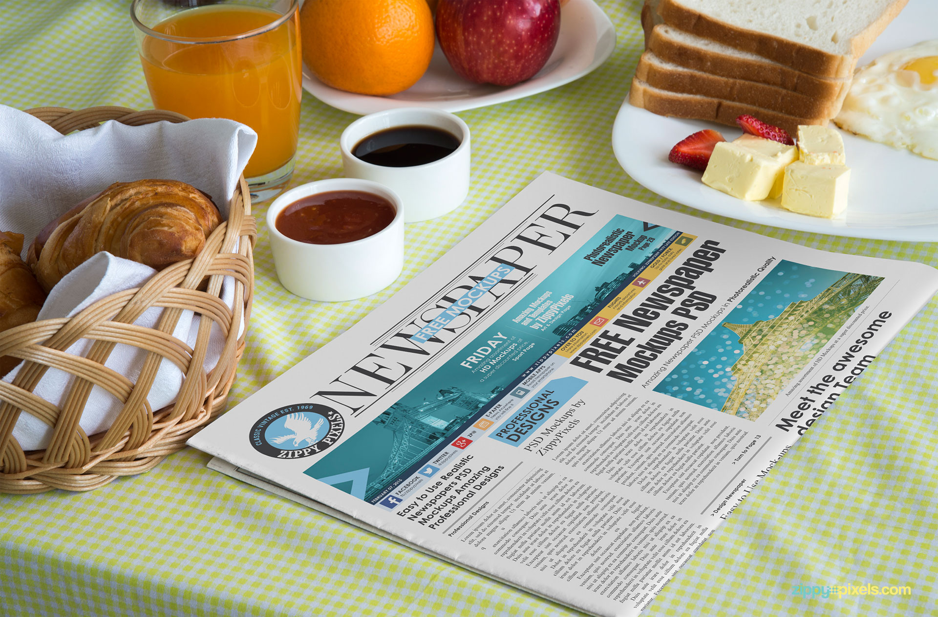Free newspaper mockup PSD with a sophisticated breakfast table environment.