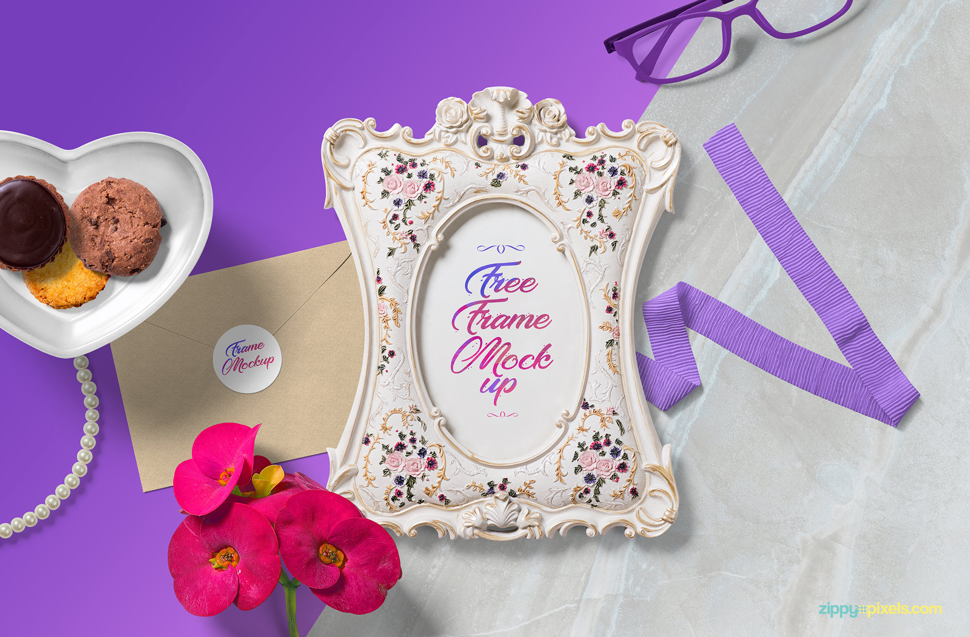 Gorgeously designed free picture frame mockup scene.