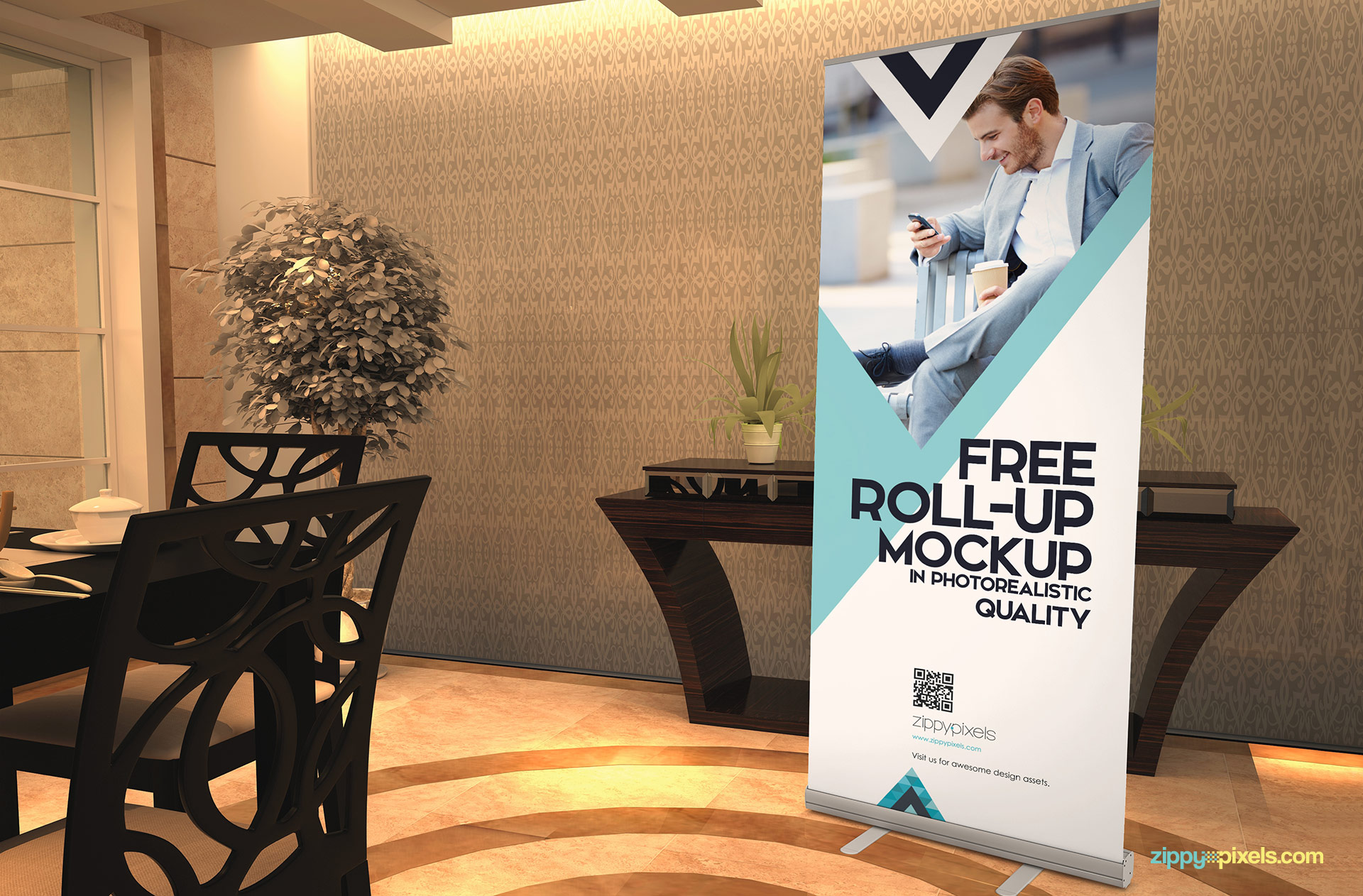 Free roll up banner mockup with the restaurant scene.